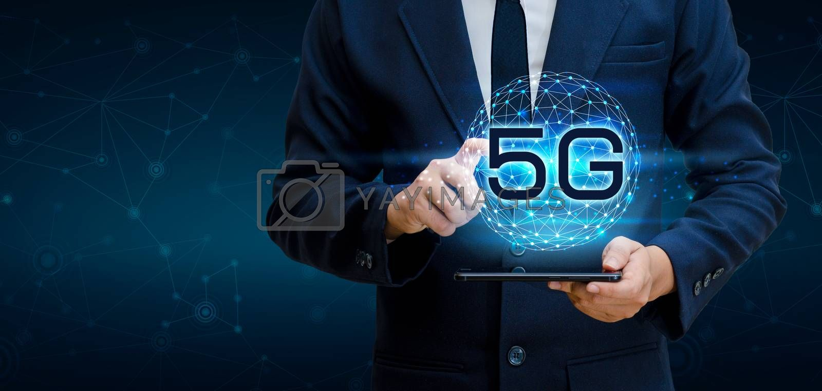 phone 5g Earth businessman connect worldwide waiter hand holding an empty digital tablet with smart and 5G network connection concept by Sarayut