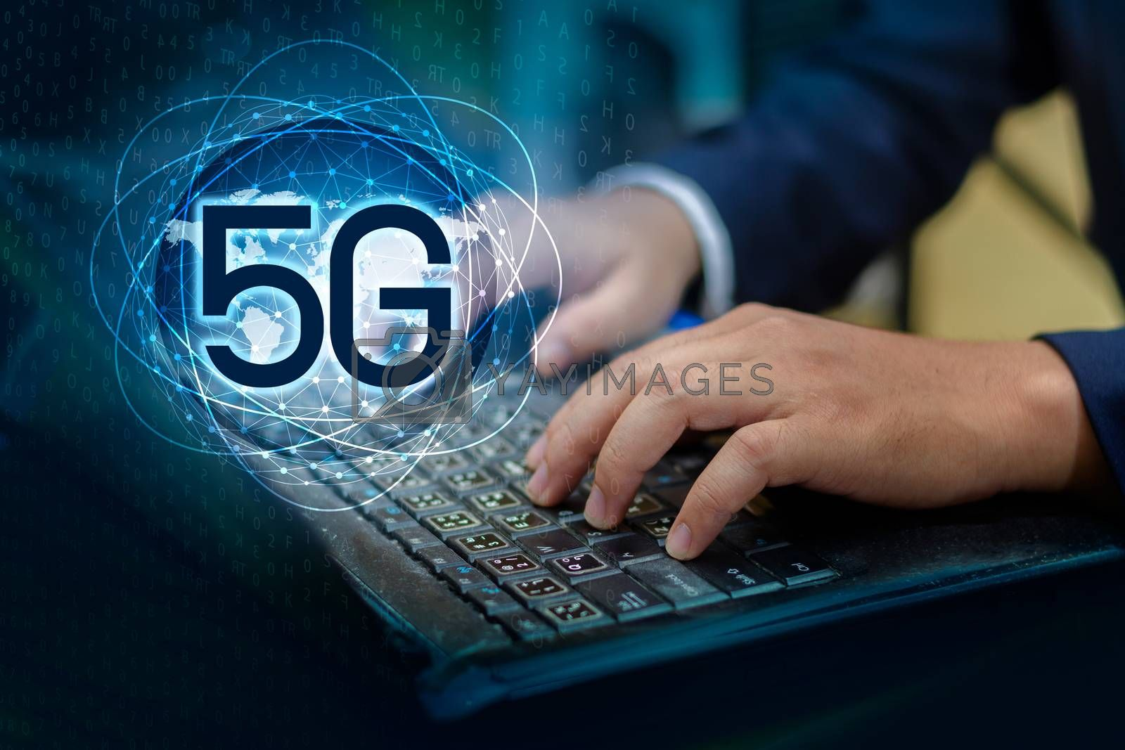 phone computer 5g Earth businessman connect worldwide waiter hand holding an empty digital tablet with smart and 5G network connection concept by Sarayut