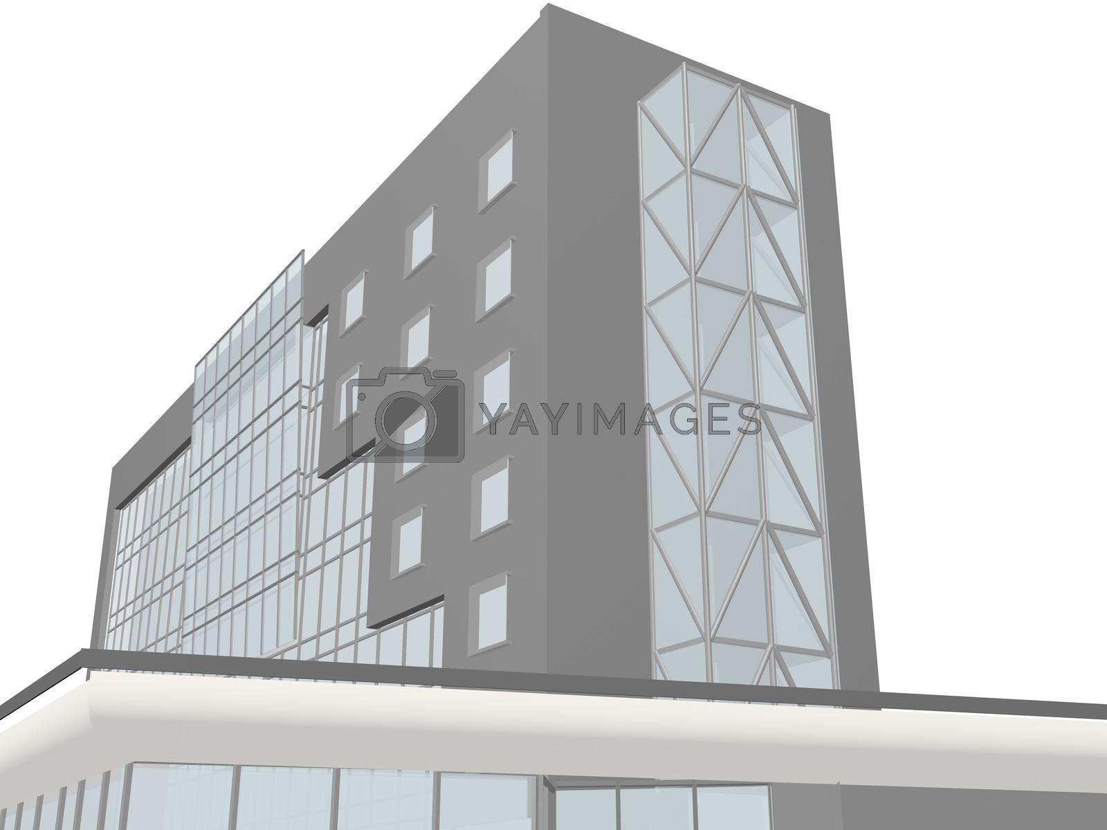 Architecture project 3d model vizualization building by Prokopenko