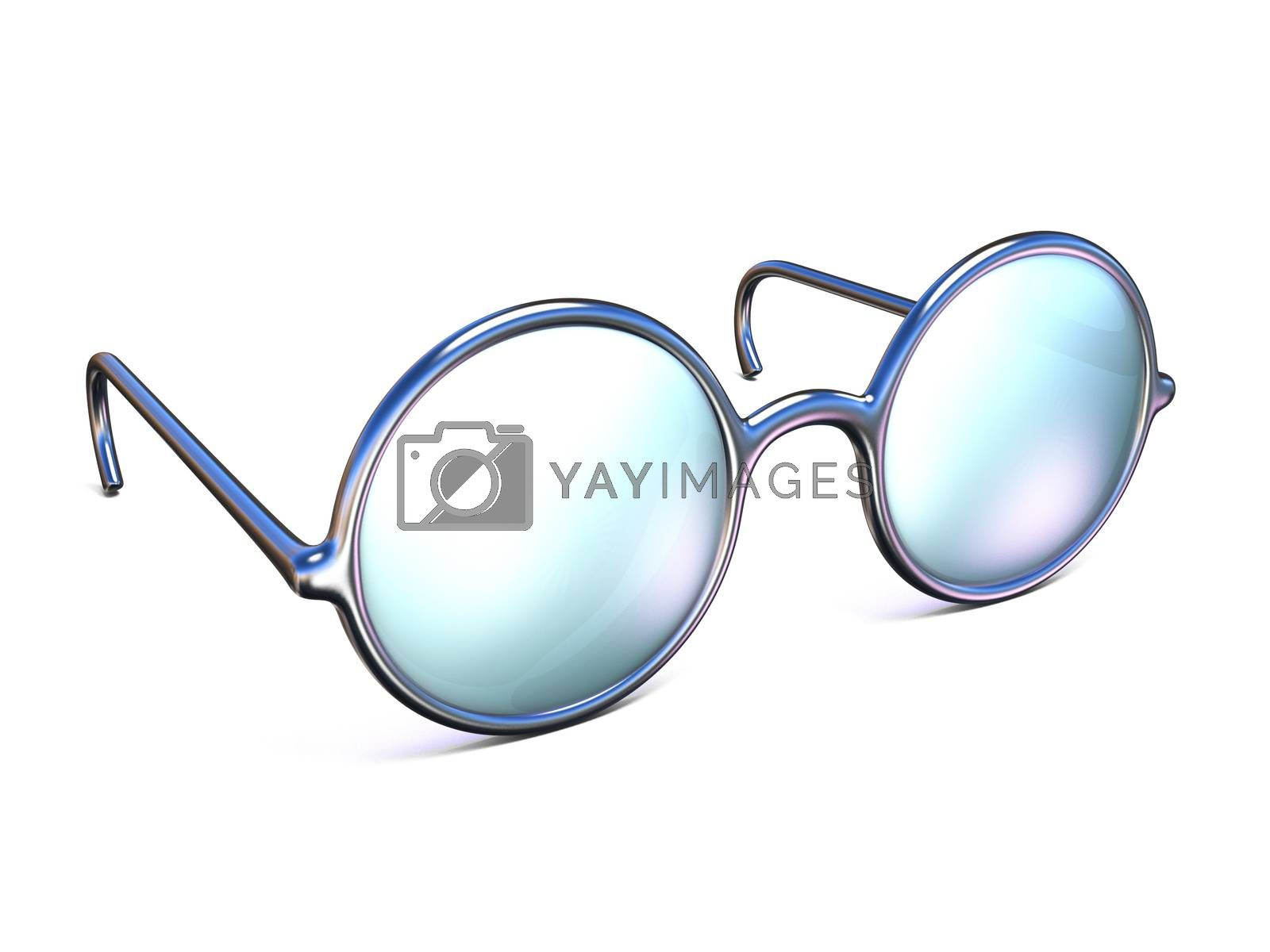 Retro silver glasses side view 3D by djmilic