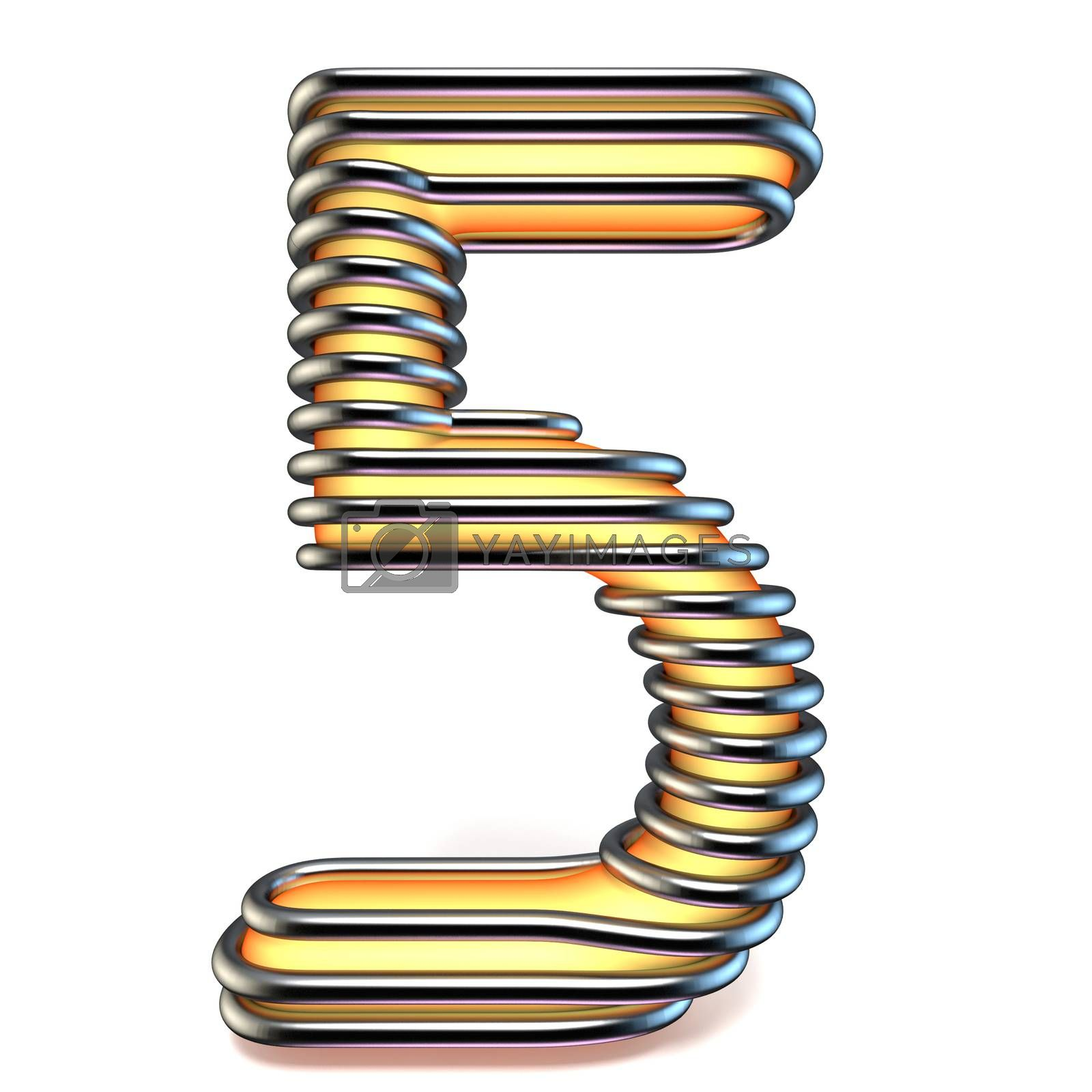Orange yellow number 5 FIVE in metal cage 3D by djmilic