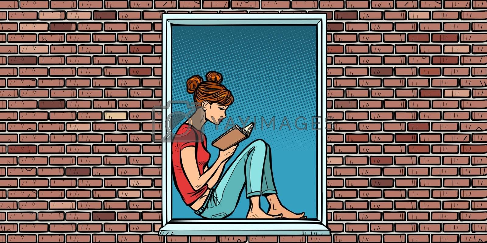 Teen girl reading a book, sitting in the window by rogistok