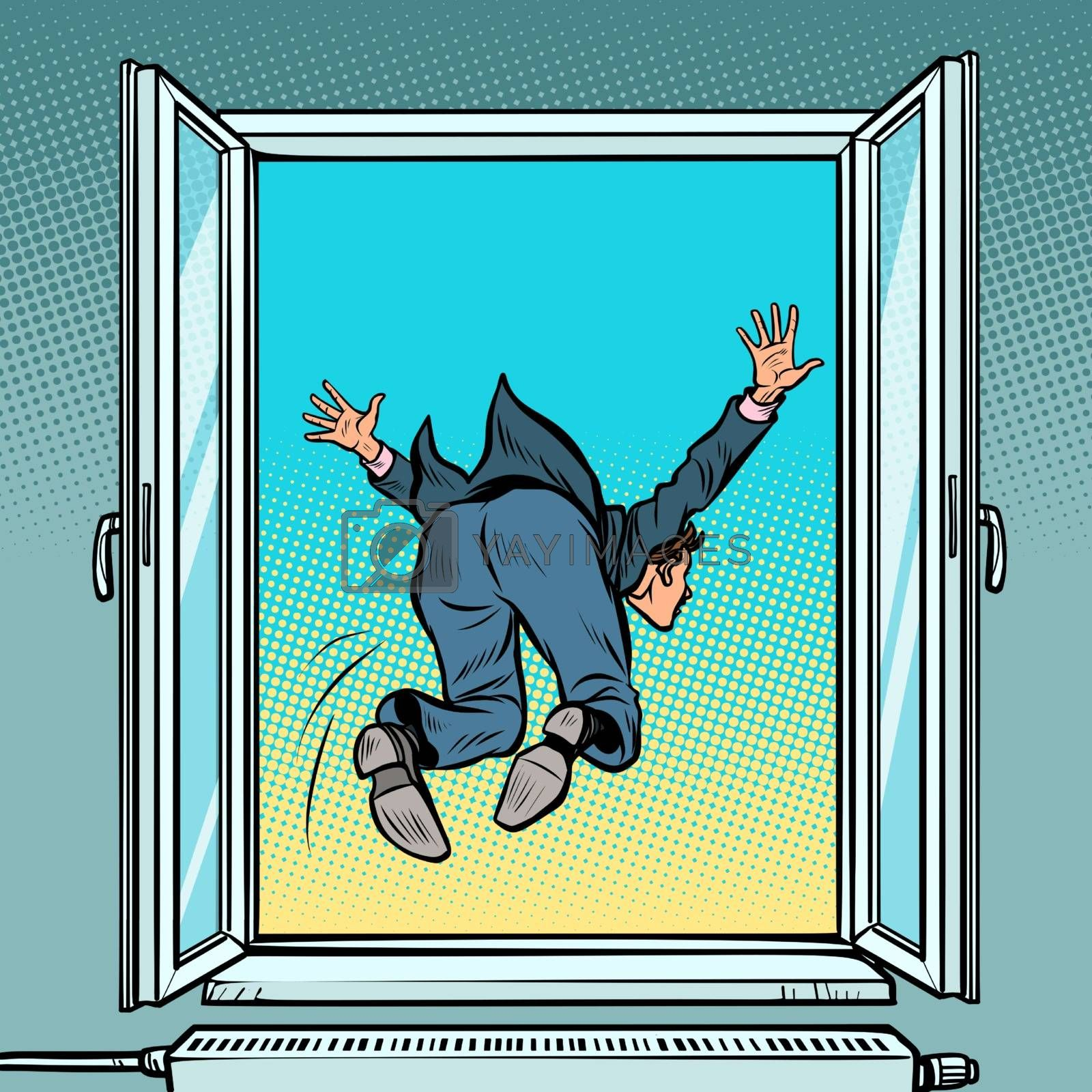 Bankruptcy and financial crisis. Suicide businessman jumps out the window by rogistok