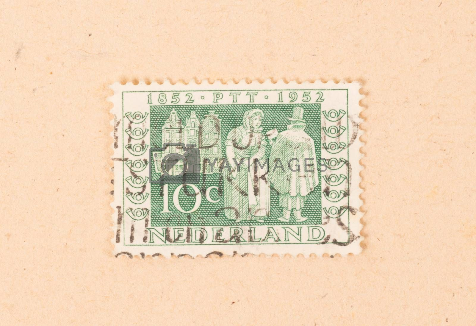 THE NETHERLANDS 1950: A stamp printed in the Netherlands shows t by michaklootwijk