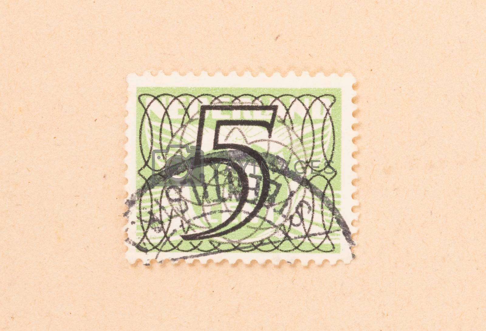 THE NETHERLANDS 1950: A stamp printed in the Netherlands shows i by michaklootwijk