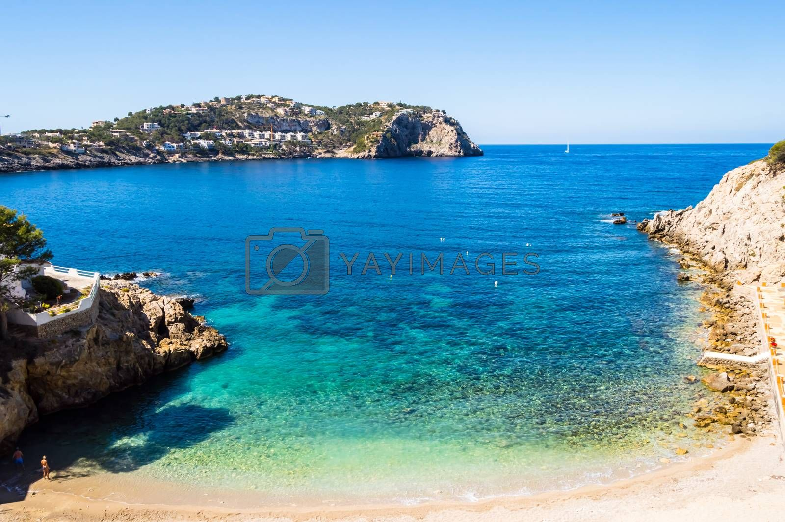 Elevated view of Cala Fonoll beach in north west of Majorca by Philou1000