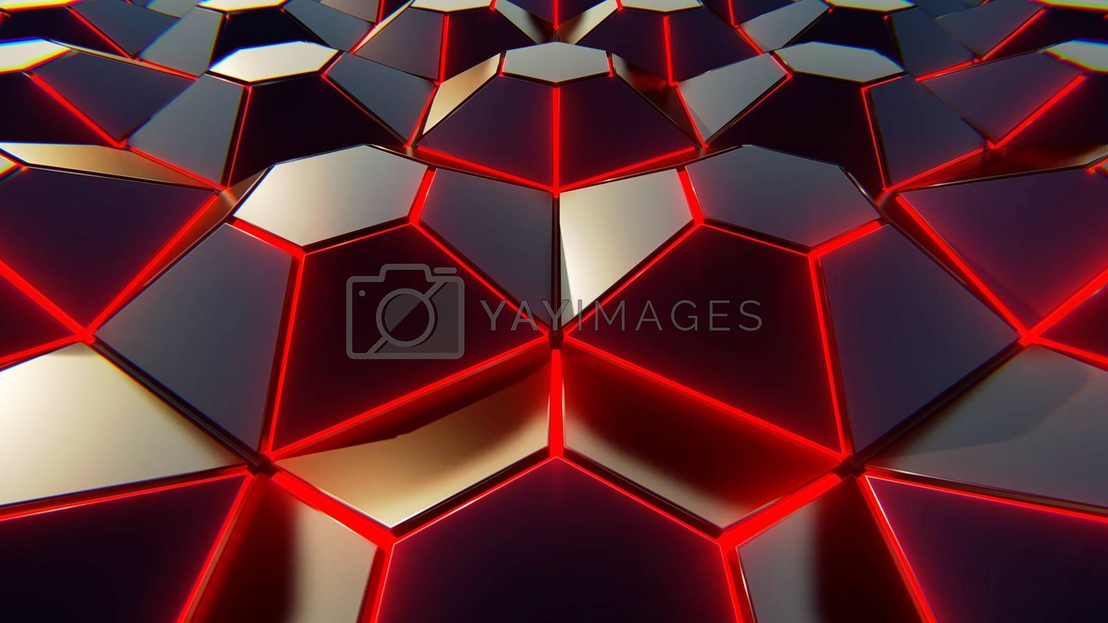 Black blue and orange hexagons background. Modern background. 3d by Teerawit Tj-rabbit