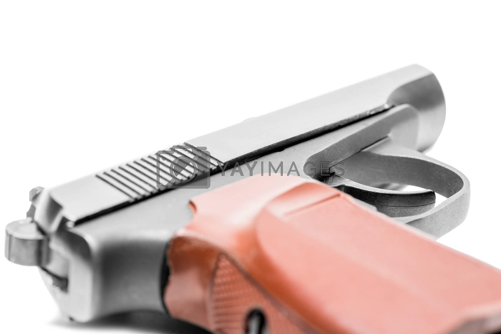 gas pistol on a white background close-up by Labunskiy K.