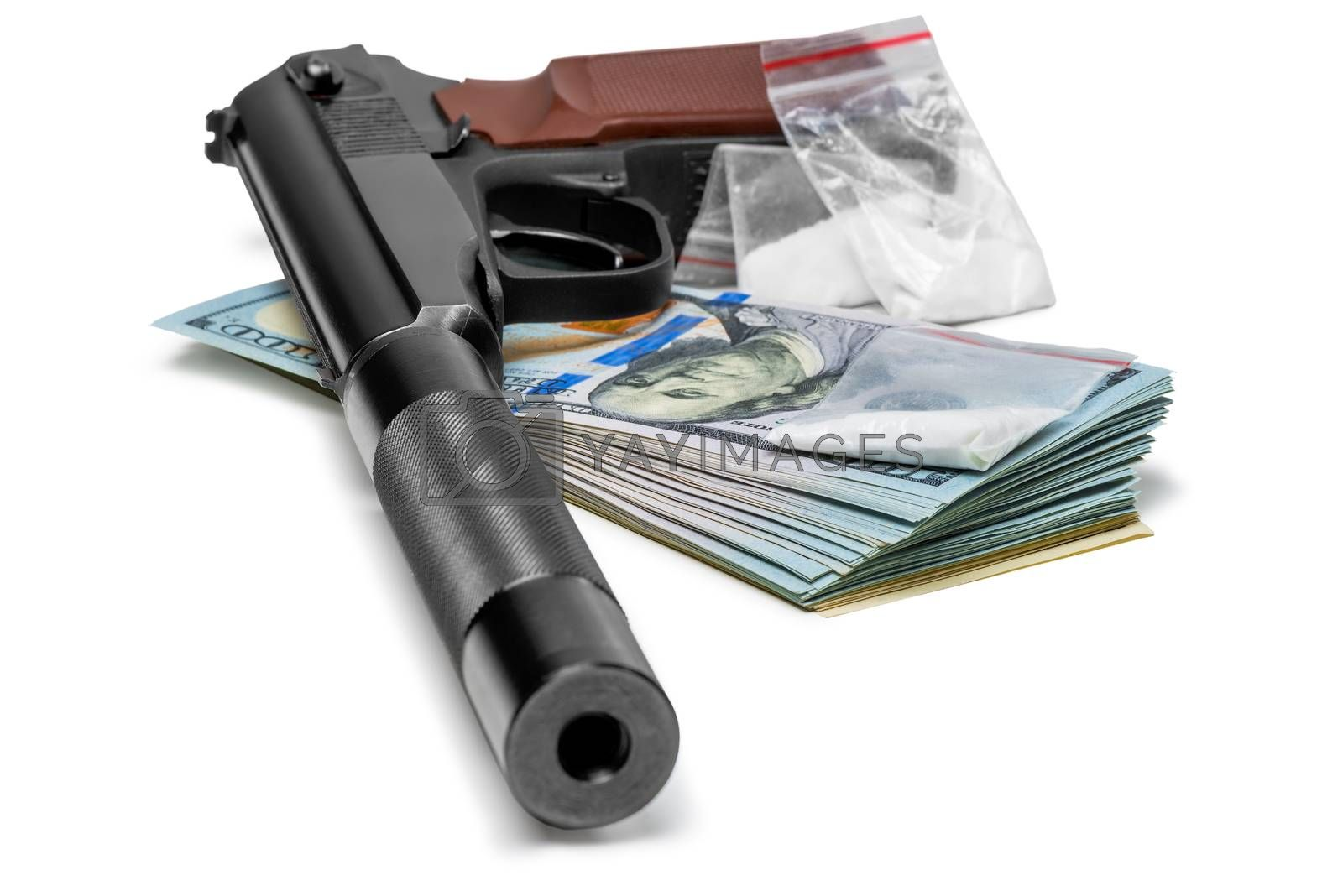 crime concept - a pistol with a silencer, money and drugs close  by Labunskiy K.