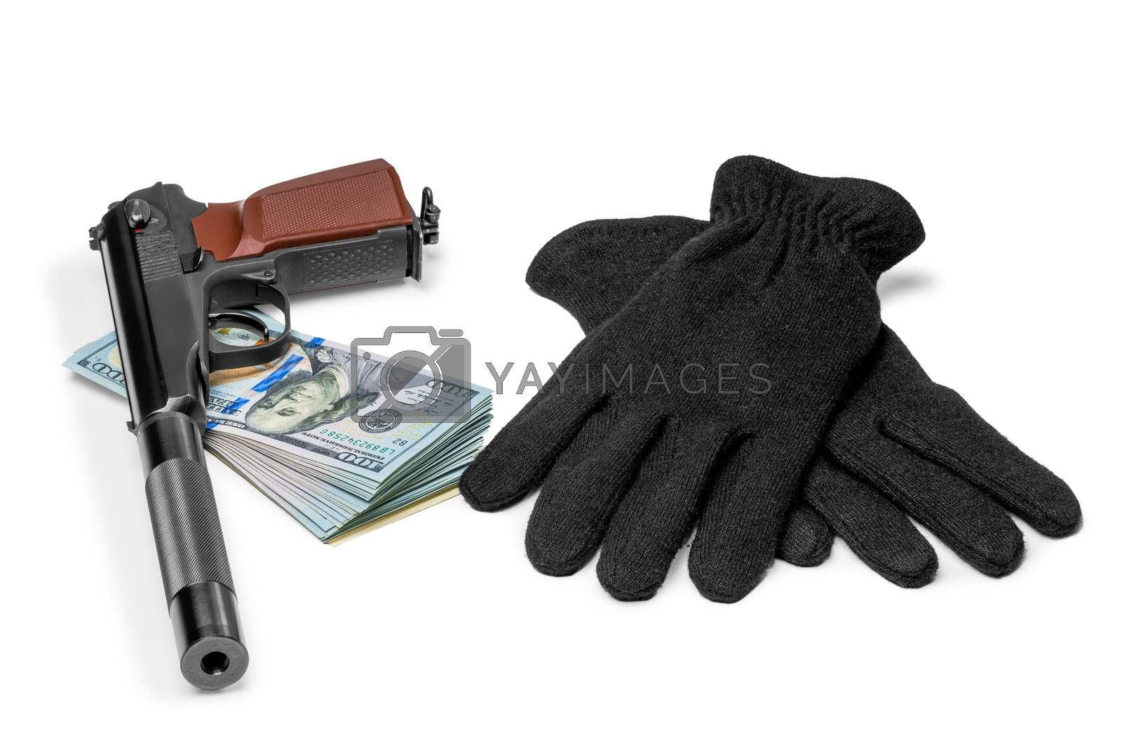 gun with a silencer, money and gloves closeup concept of robbery by Labunskiy K.