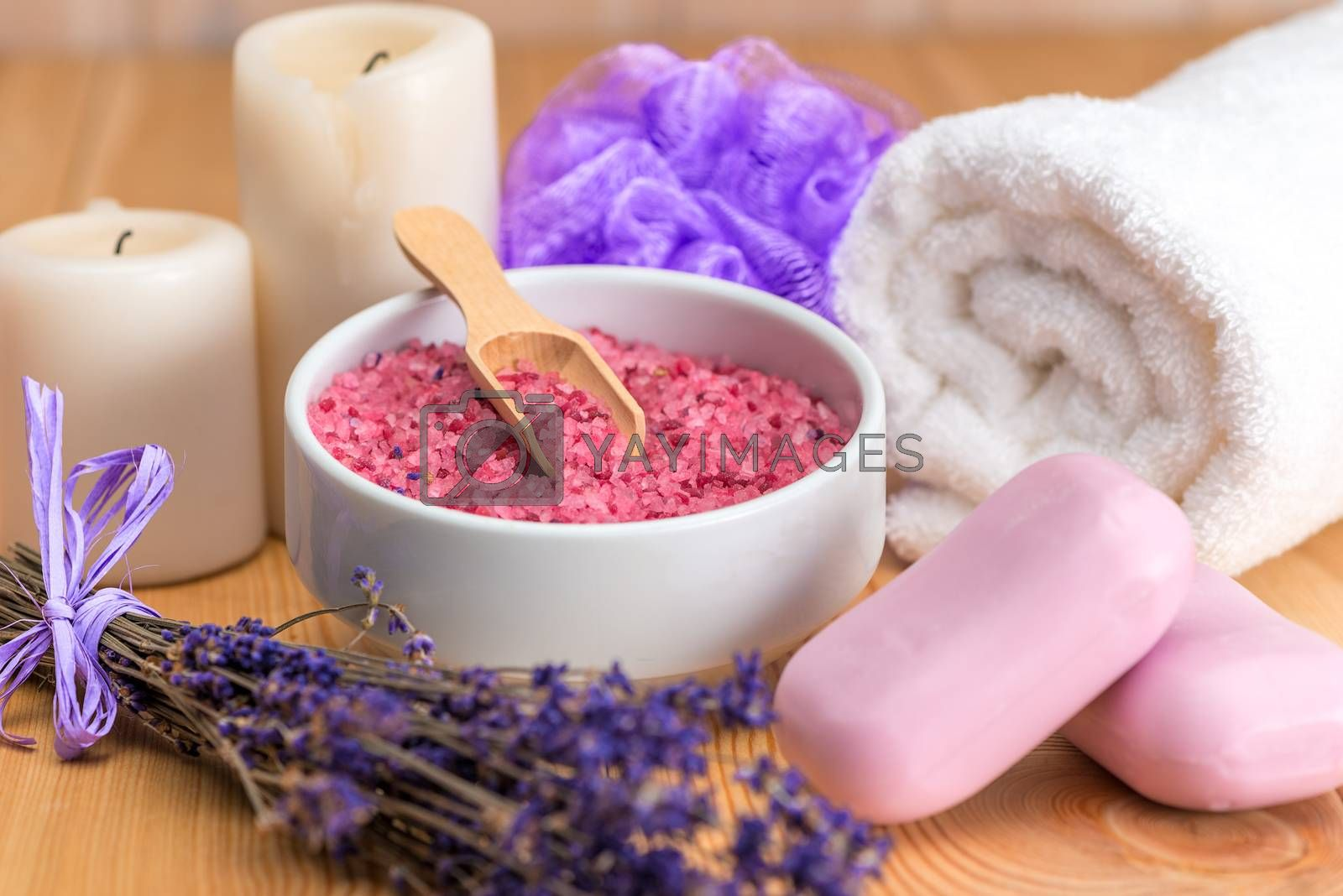 lavender cosmetics for spa treatments and relaxation close-ups by Labunskiy K.