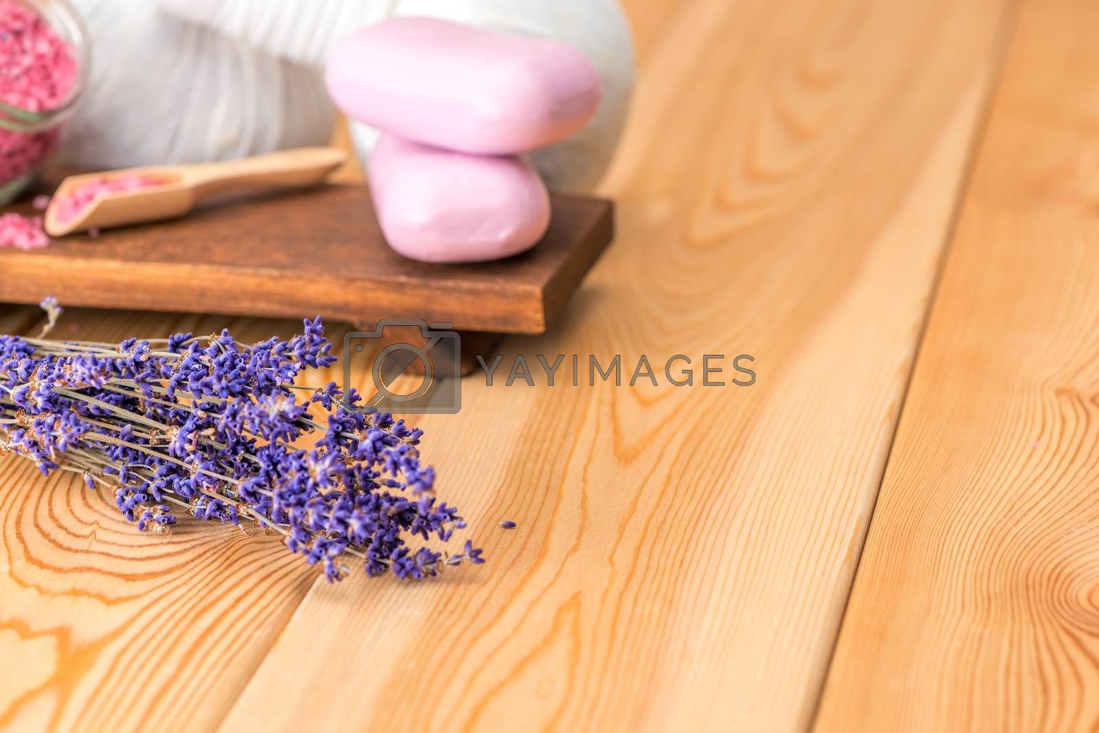 dried lavender and soap with natural lavender extract for spa tr by Labunskiy K.