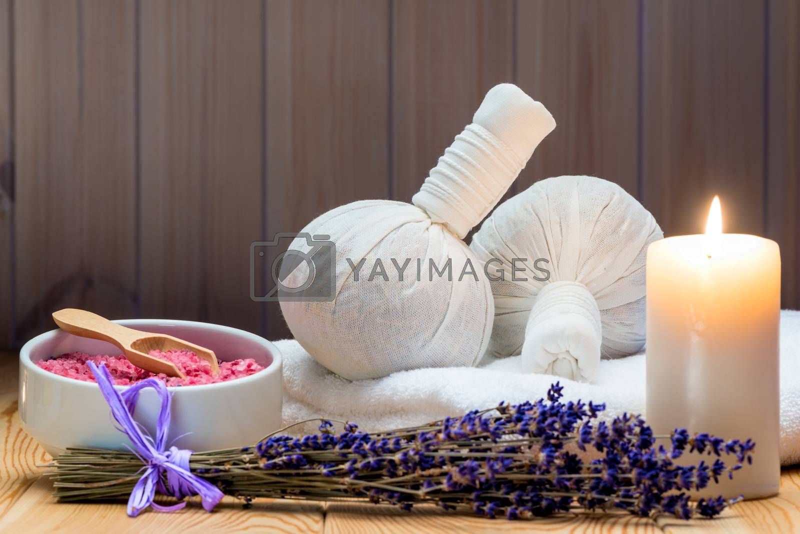 herbal bags with natural lavender and sea salt with a burning ca by Labunskiy K.