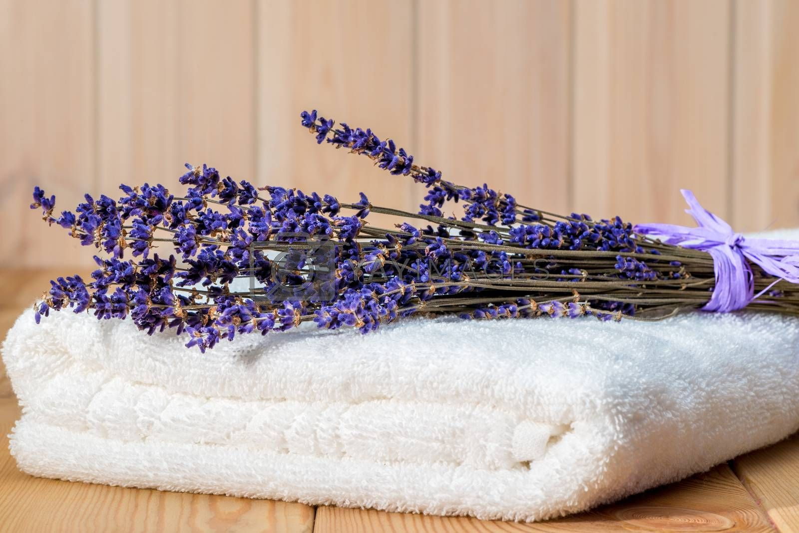 bunch of dry lavender on a white terry towel close up by Labunskiy K.