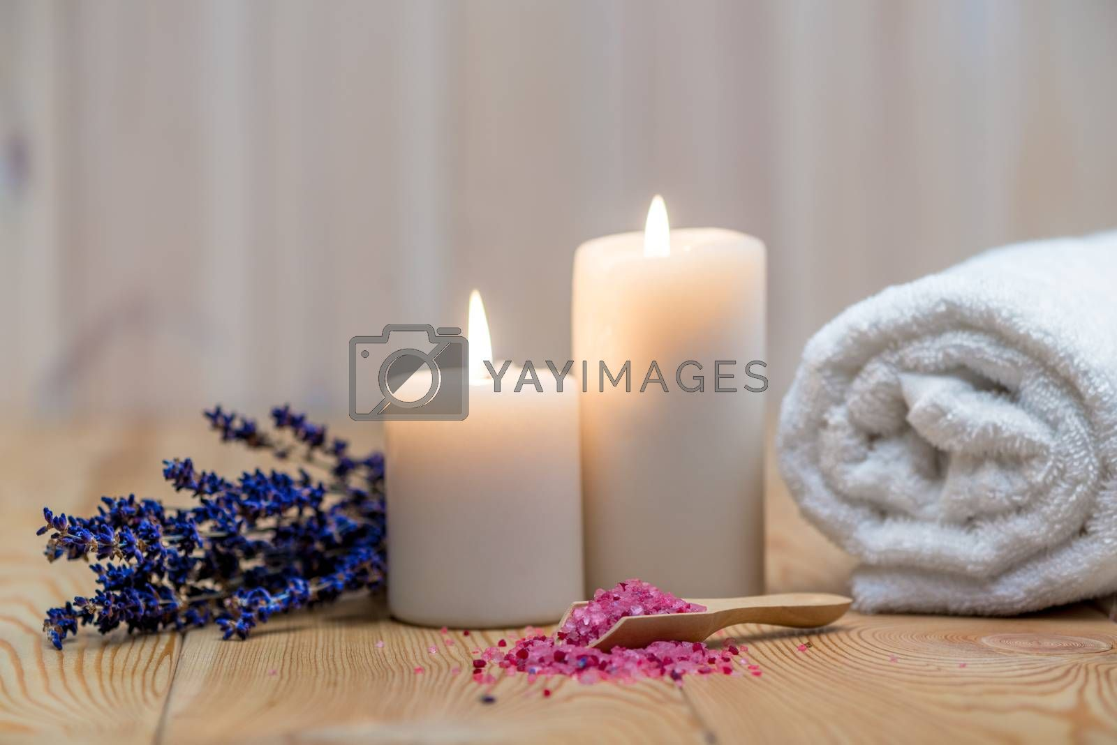 lavender, burning candles and sea salt for spa treatment and rel by Labunskiy K.