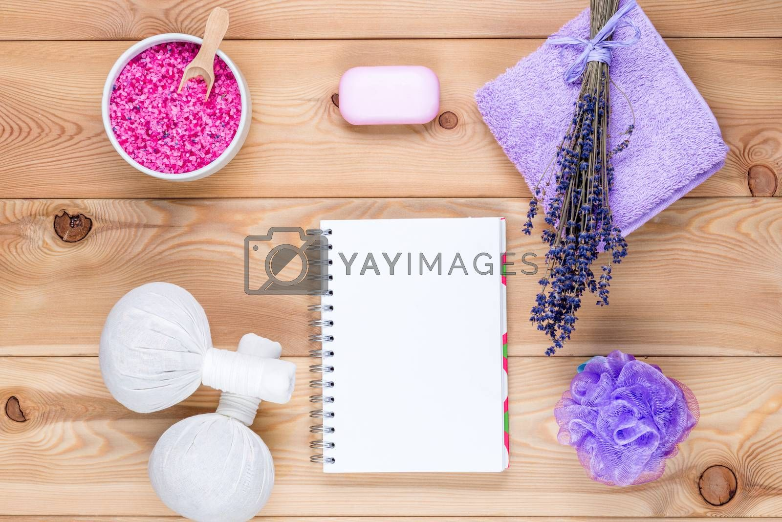 lavender theme: a clean sheet of notepad and objects with lavend by Labunskiy K.