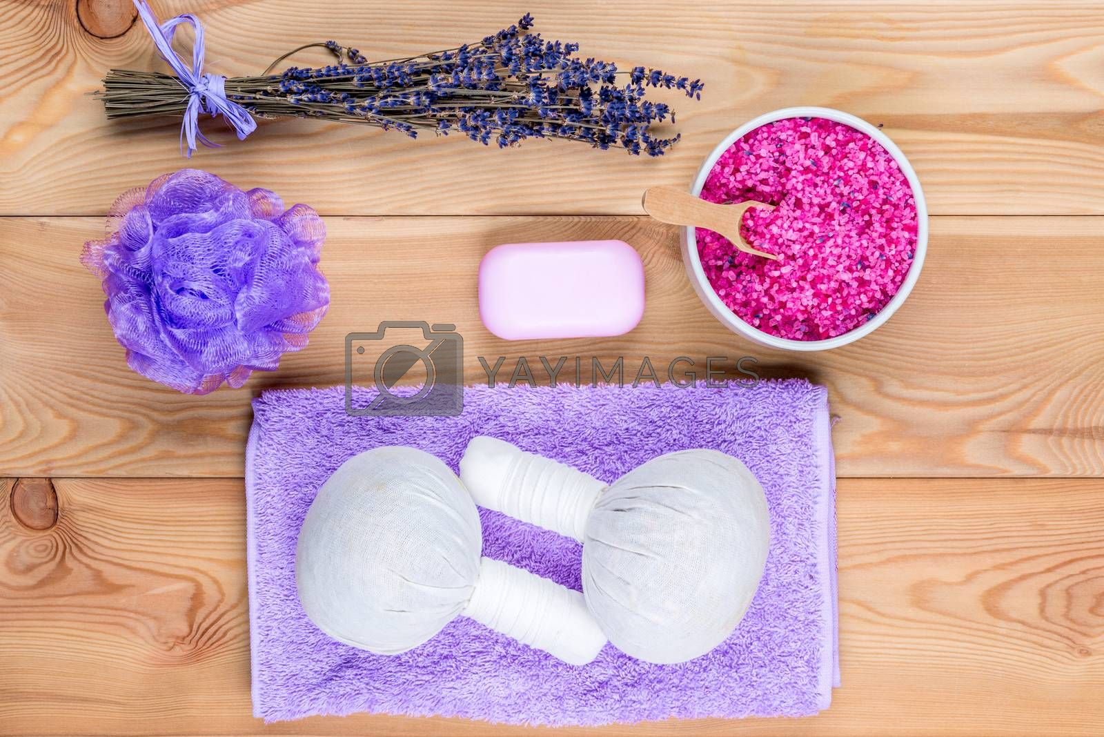 top view herbal bags with natural lavender for massage, sea salt by Labunskiy K.