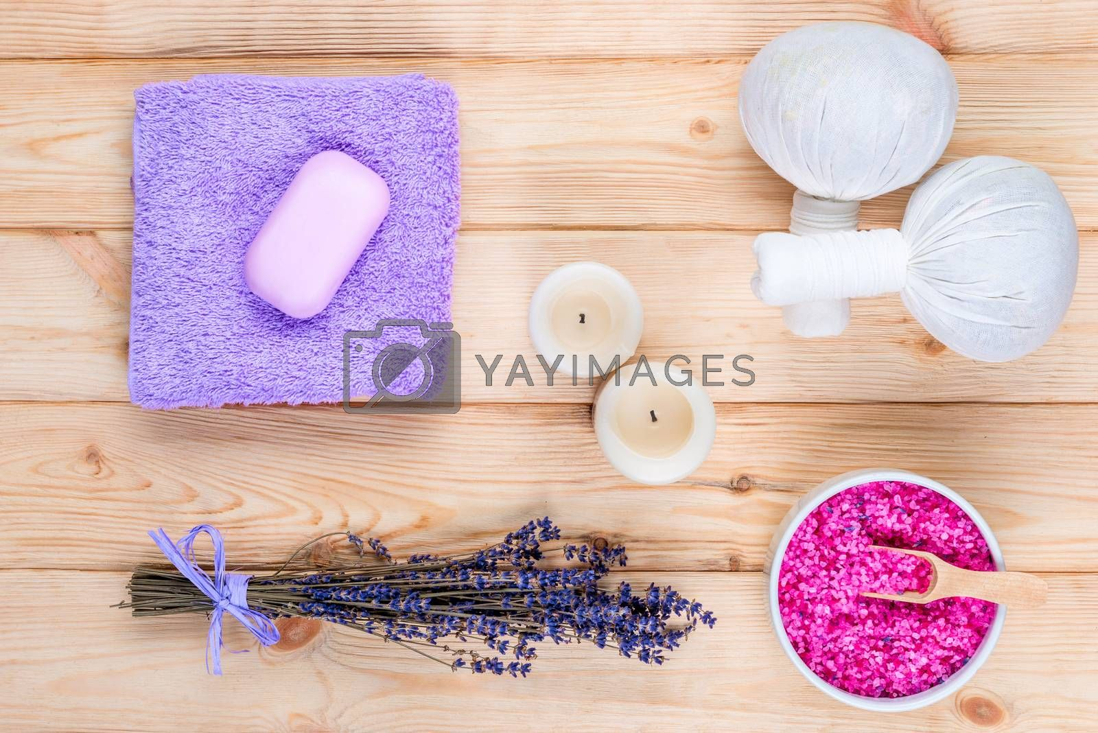 lavender, candles and herbal massage bags top view objects for s by Labunskiy K.