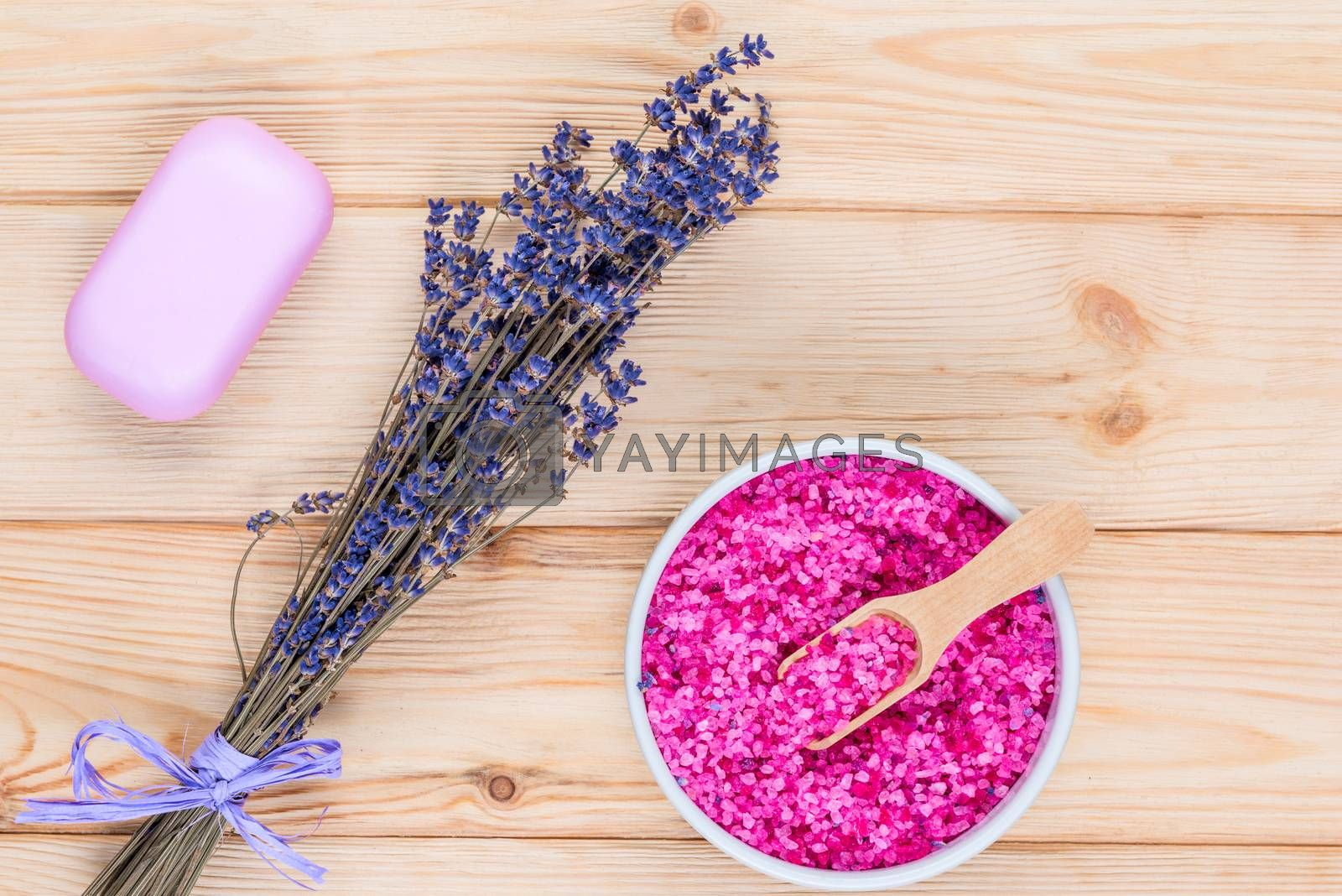 sea salt and soap with lavender extract for a bath on the boards by Labunskiy K.
