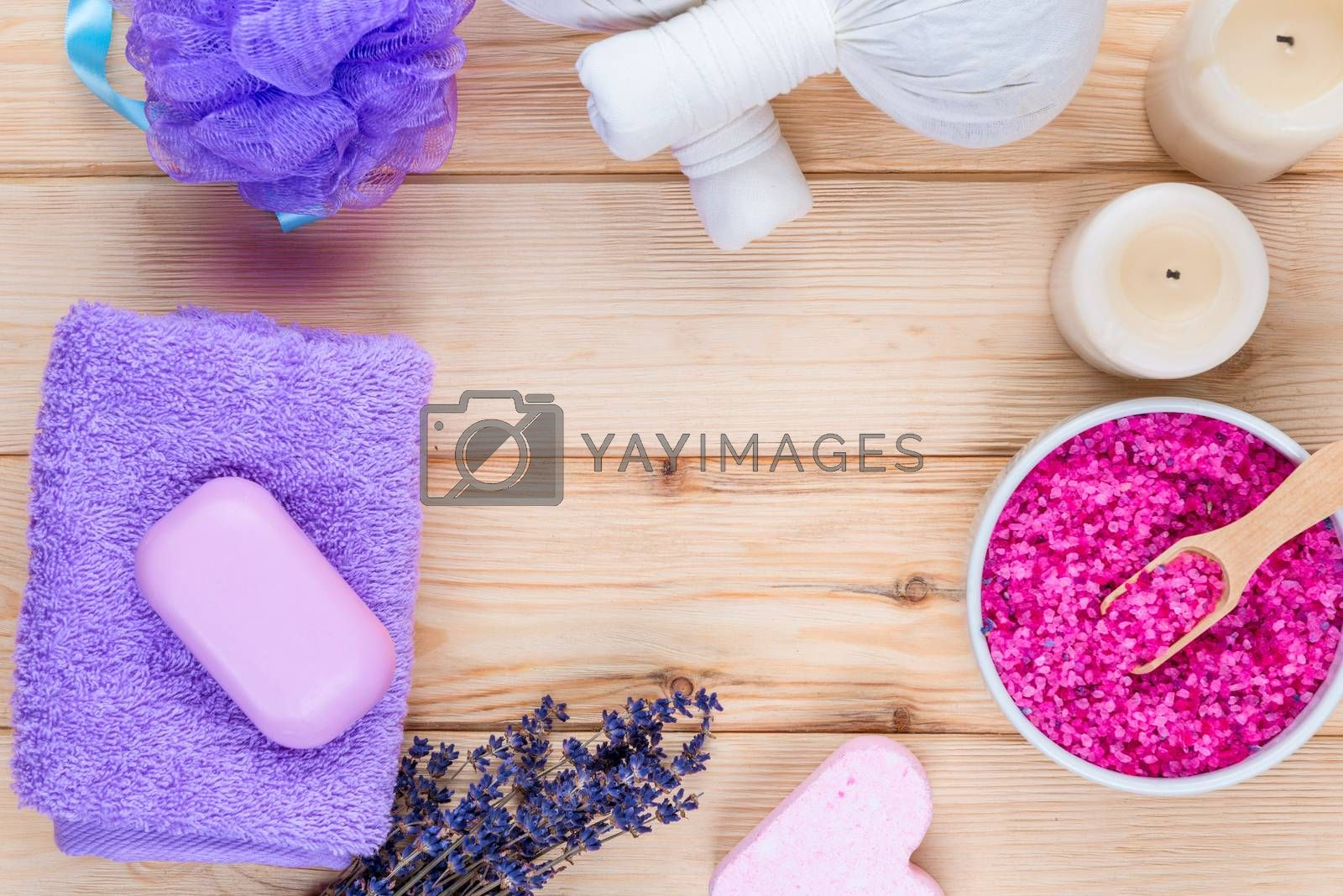 concept photo - lavender objects for spa, massage and relaxation by Labunskiy K.