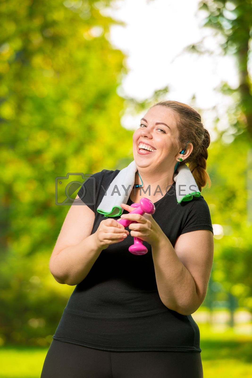 happy woman 30 years old plus size without complexes deals with  by Labunskiy K.