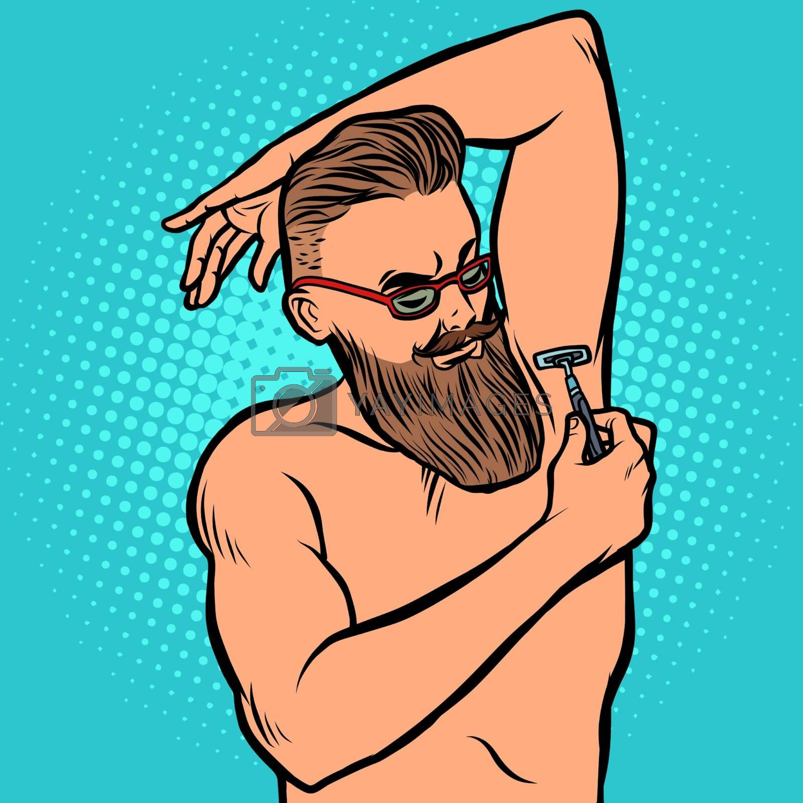 bearded hipster man shaves his armpit with a razor by rogistok