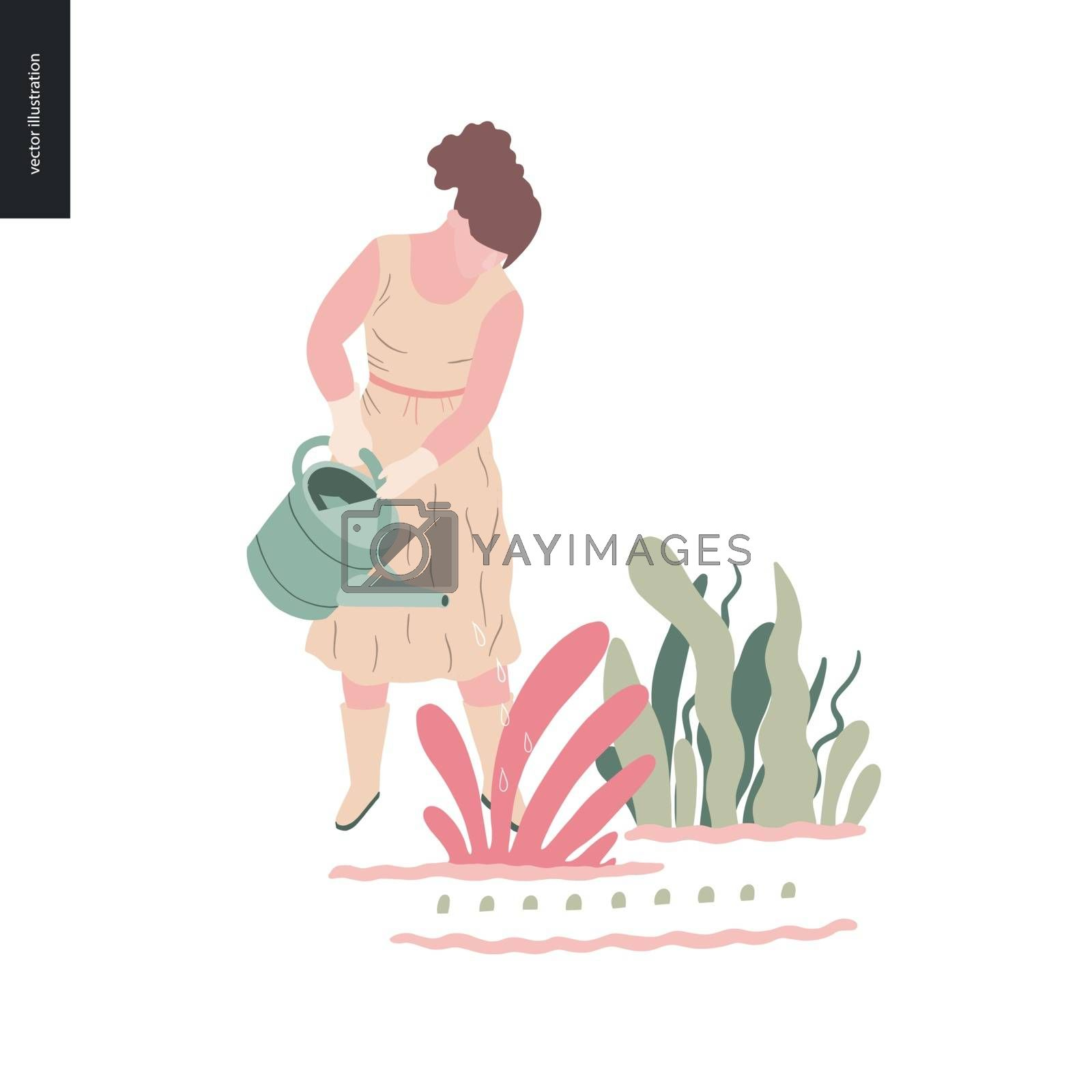 People summer gardening by grivina