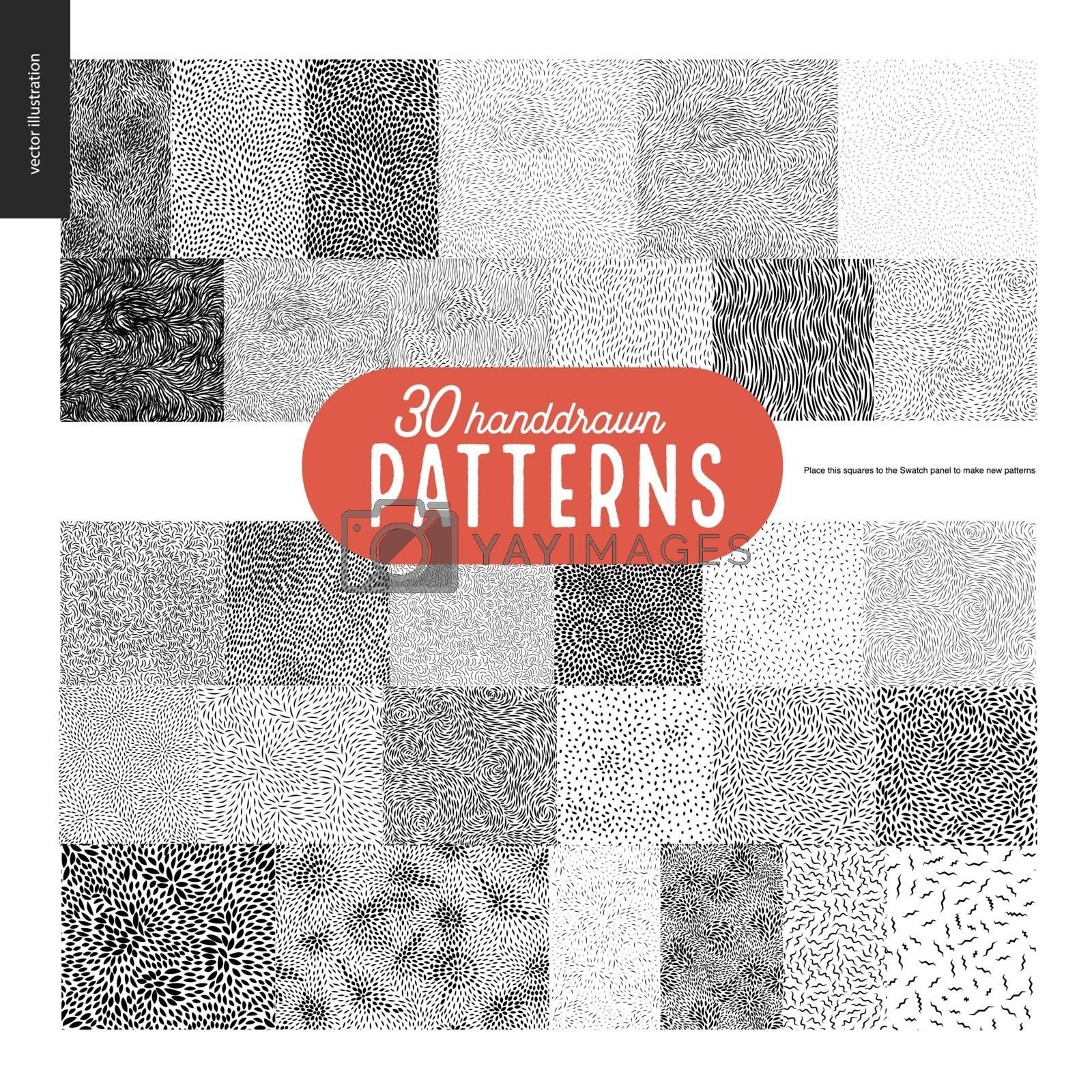 Hand drawn black and white 30 patterns set by grivina