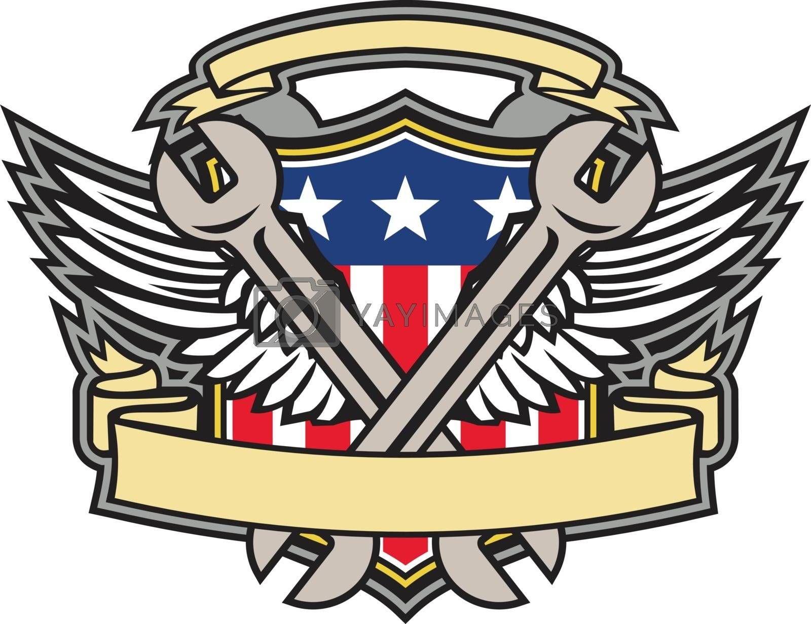 Crossed Wrench Army Wings American Flag Shield by patrimonio