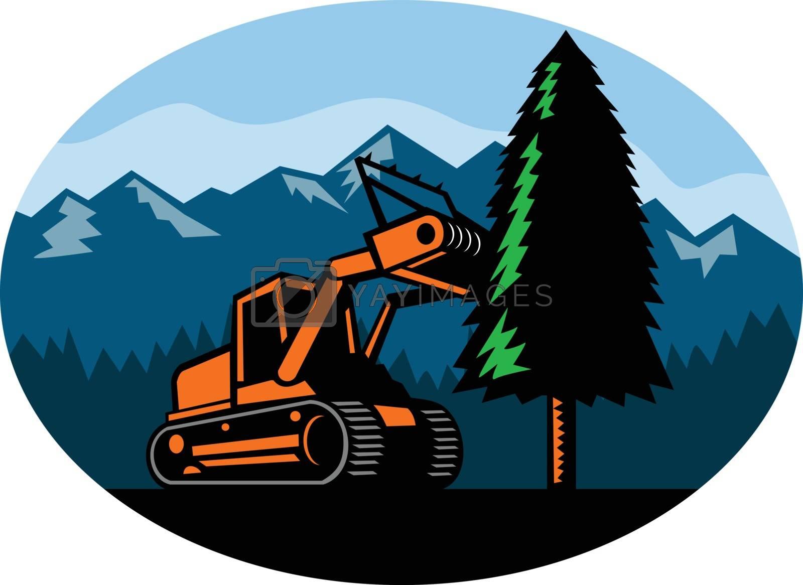 Forestry Mulcher Tearing Tree Oval Retro by patrimonio