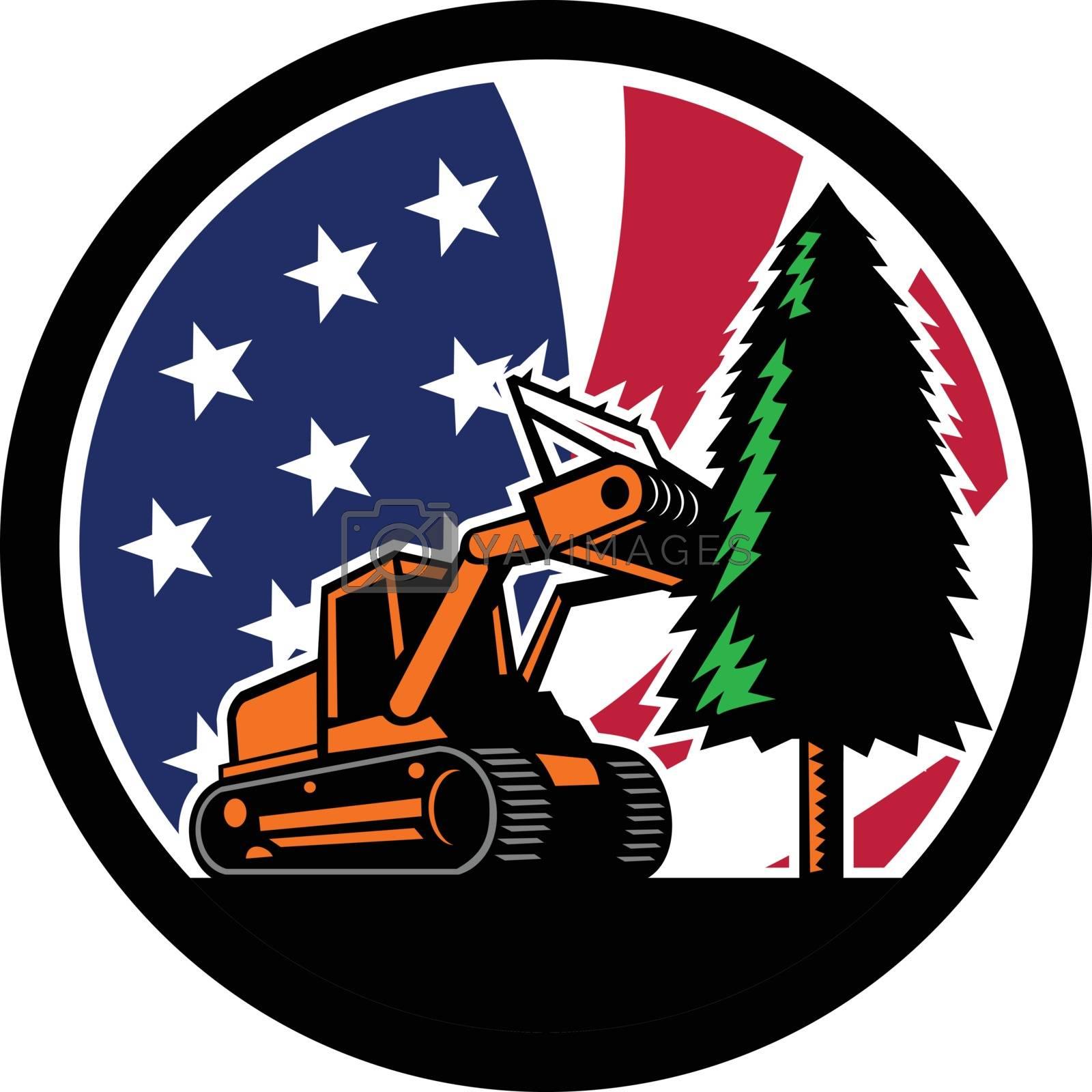 American Forestry Mulcher USA Flag Retro by patrimonio