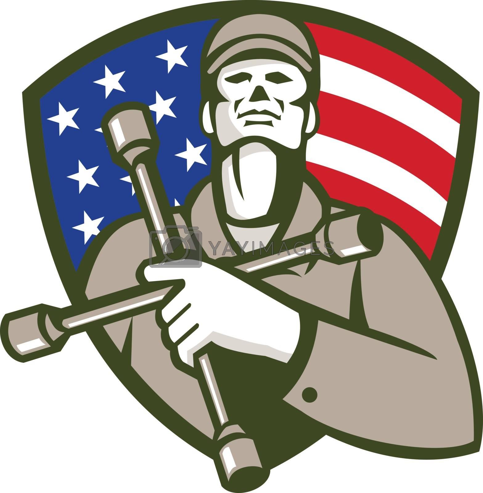 Mechanic Holding Tire Wrench USA Flag Shield Retro by patrimonio