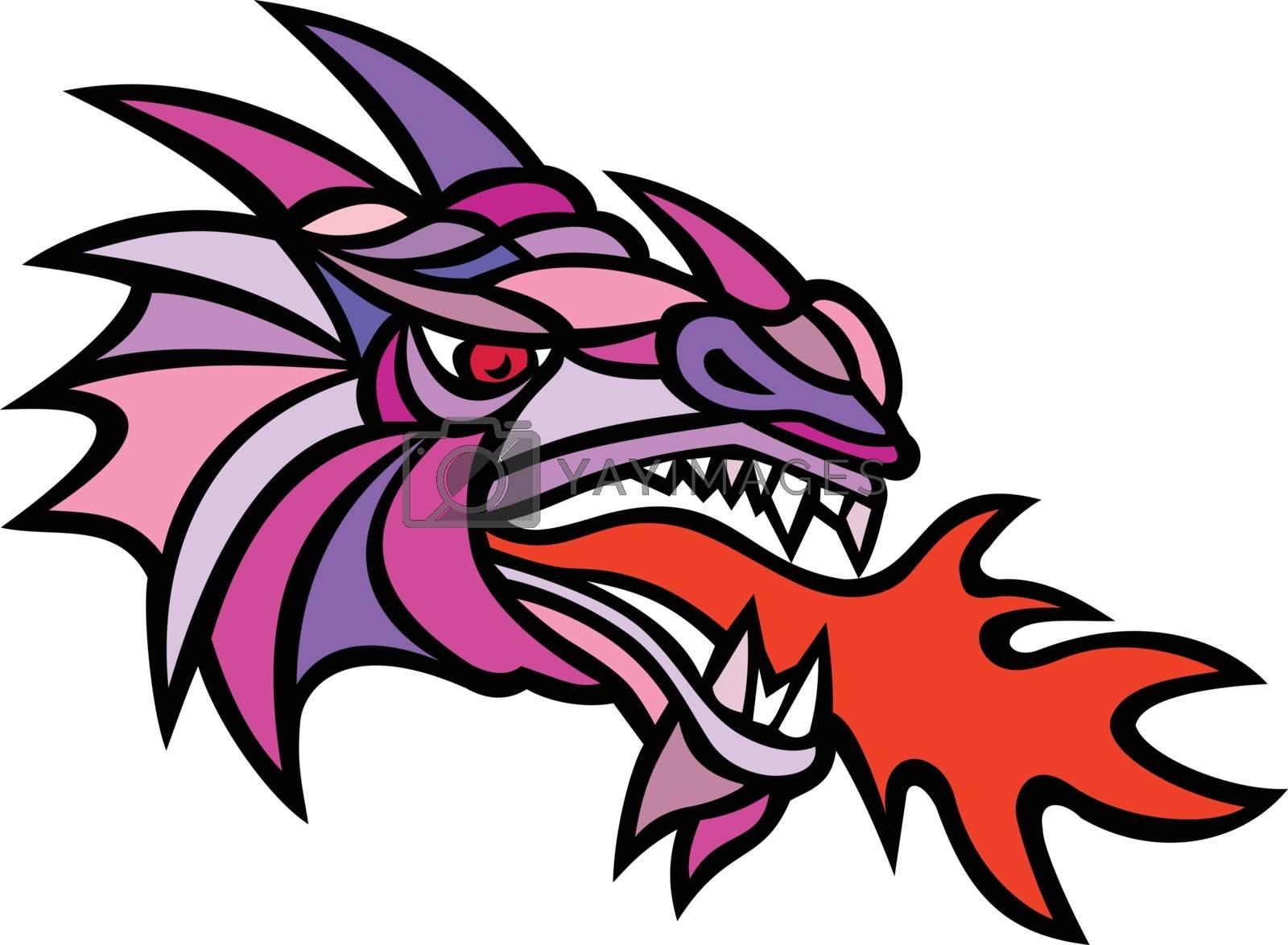 Mosaic Mythical Dragon Breathing Fire Mascot by patrimonio