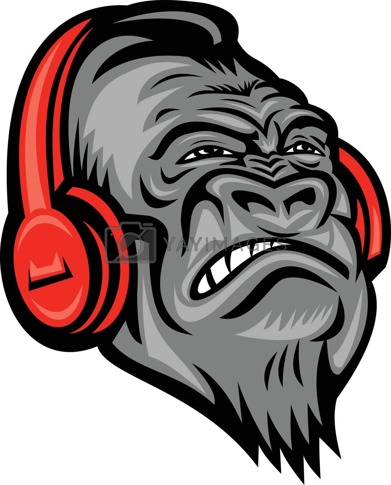 Gorilla Headphones Head Mascot Retro by patrimonio