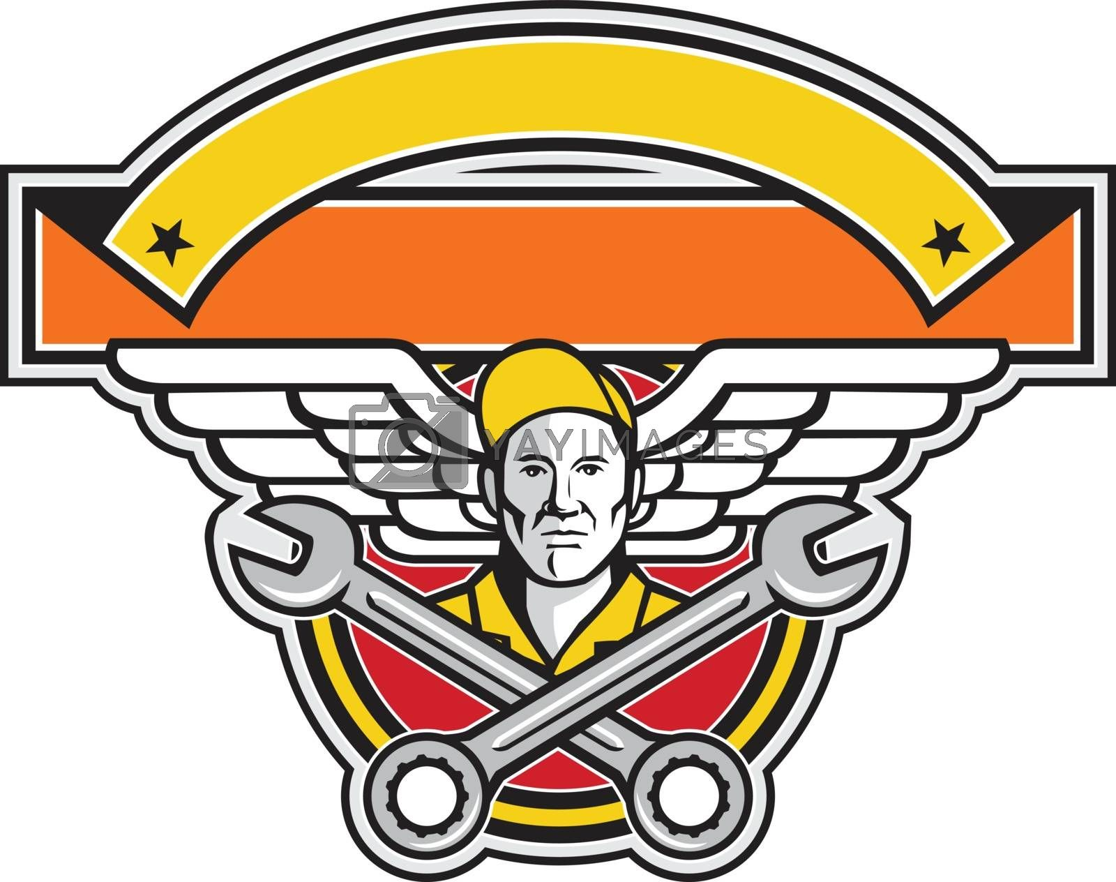 Crew Chief Crossed Spanner Army Wings Banner Icon by patrimonio