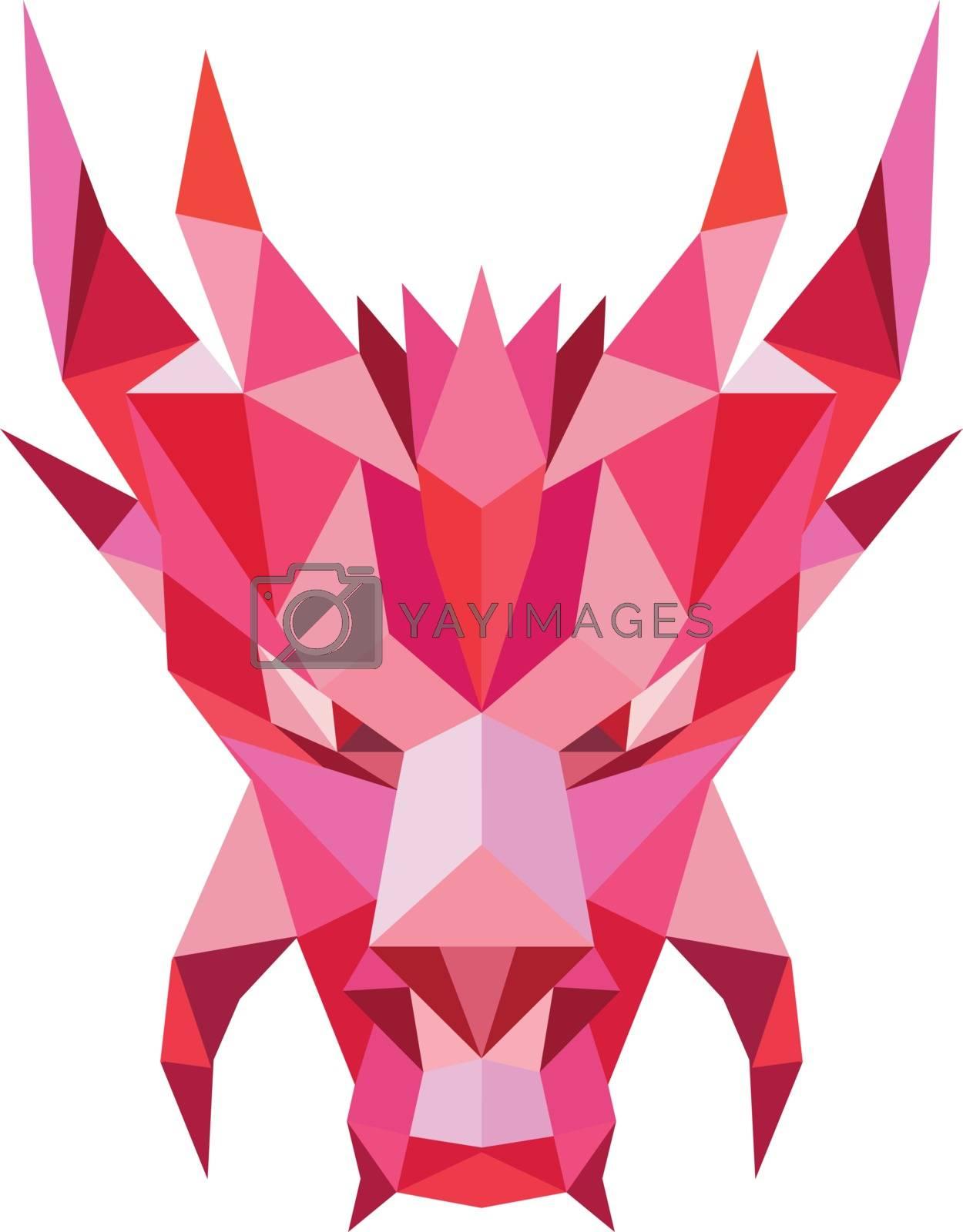 Dragon Head Front Low Polygon Style by patrimonio