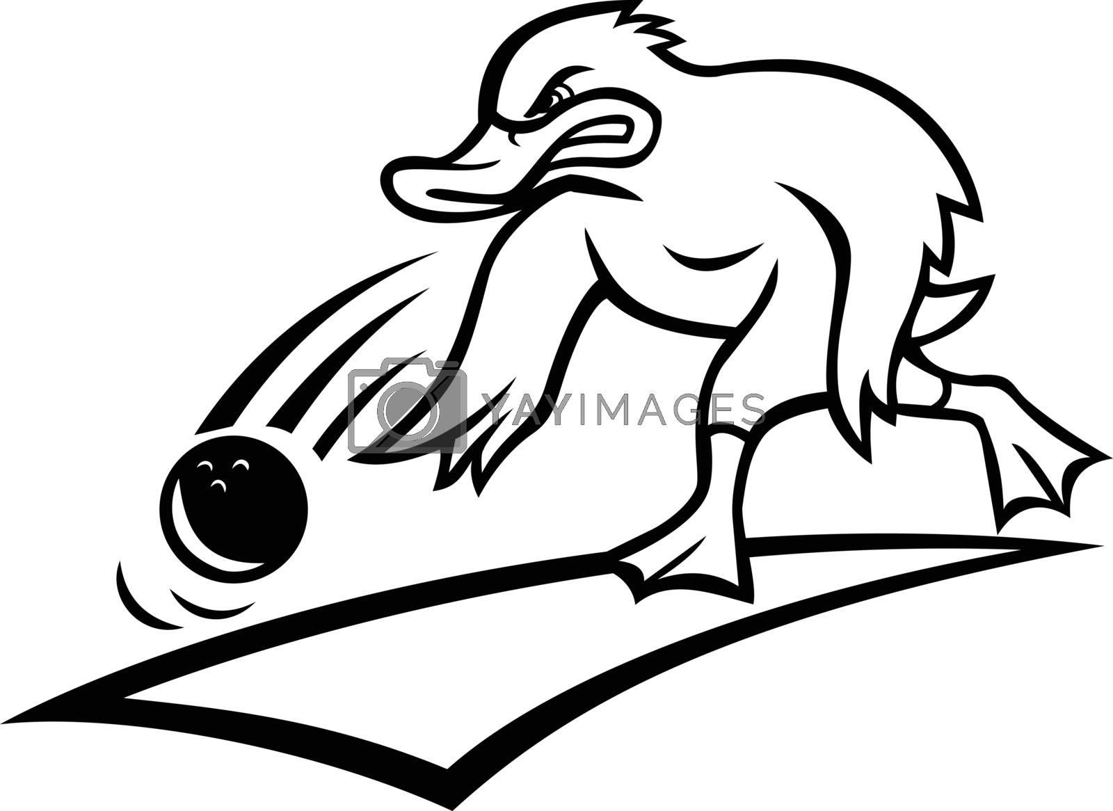 Duck Bowler Bowling Ball Cartoon Black and White by patrimonio