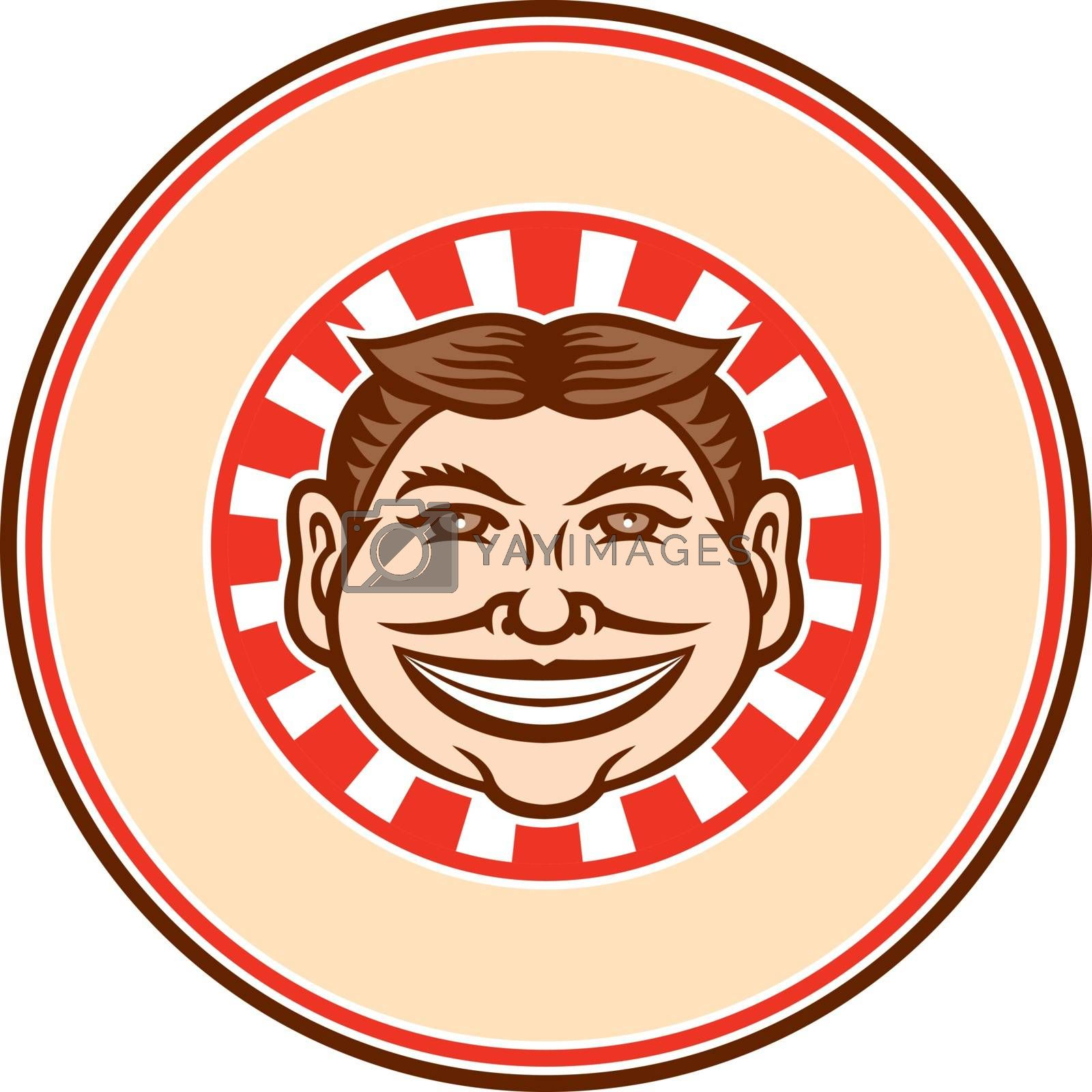Grinning Funny Face Mascot Circle Retro by patrimonio