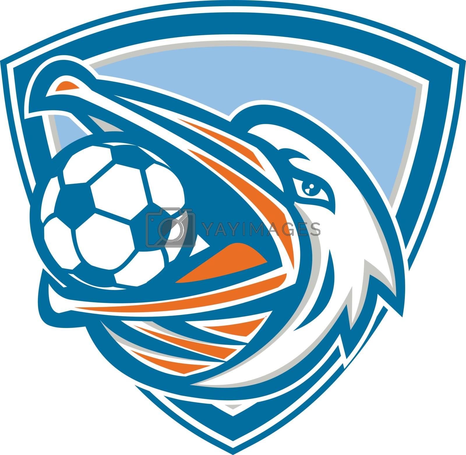 Pelican Soccer Ball In Mouth Shield Retro by patrimonio
