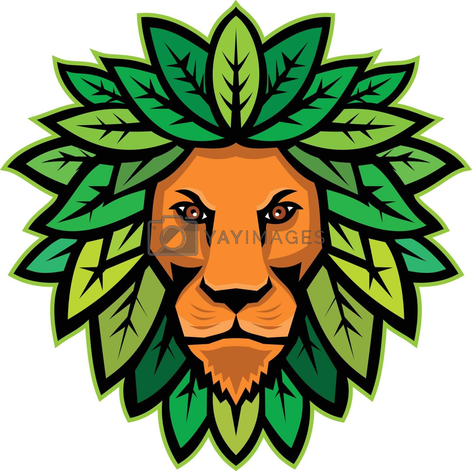 Lion With Leaves As Mane Mascot by patrimonio