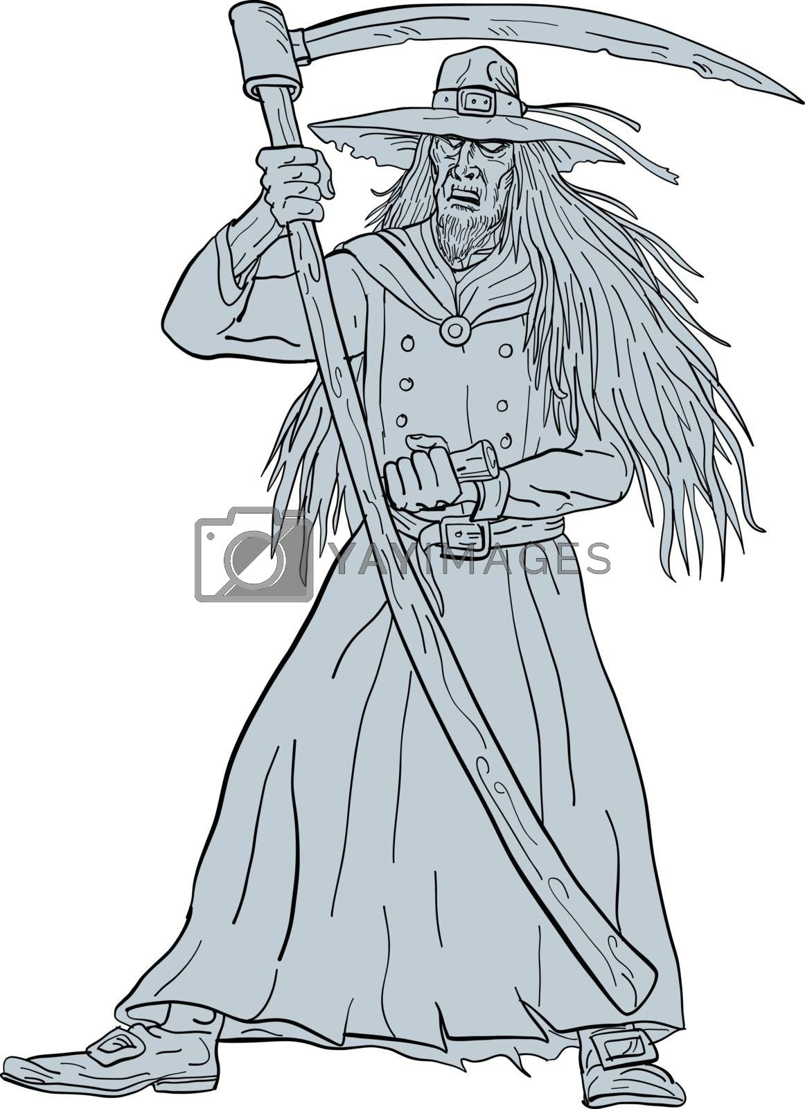 Ankou Henchman of Death With Scythe Drawing by patrimonio