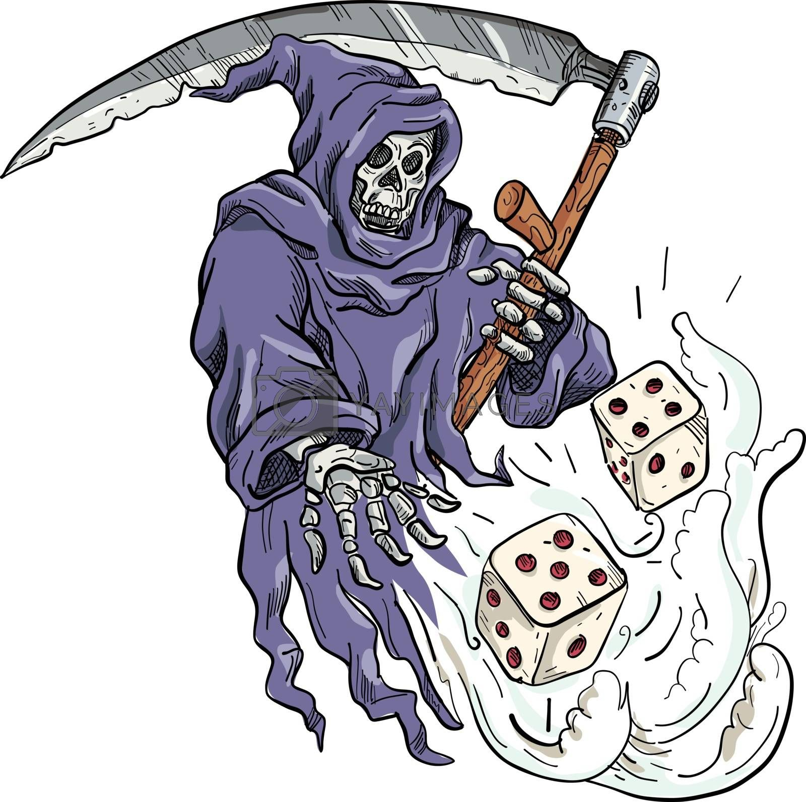 Grim Reaper Throwing the Dice Drawing Color by patrimonio