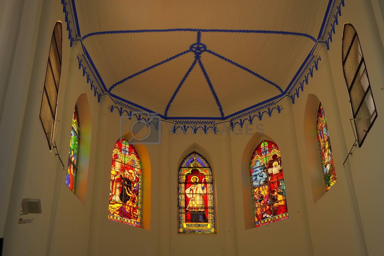 roof and stained glasses of choir of church Saint Francis Xavier by Louis Villedieu