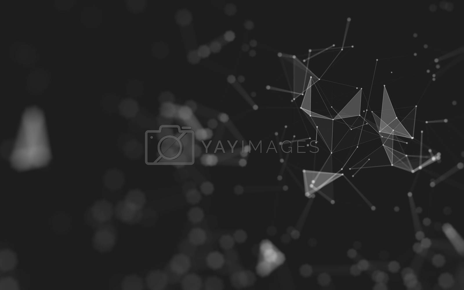 Abstract polygonal space low poly dark background, 3d rendering by Teerawit Tj-rabbit