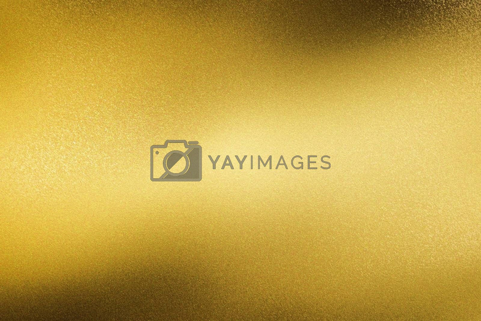 Glowing brushed yellow metal wall surface, abstract texture background by mouu007