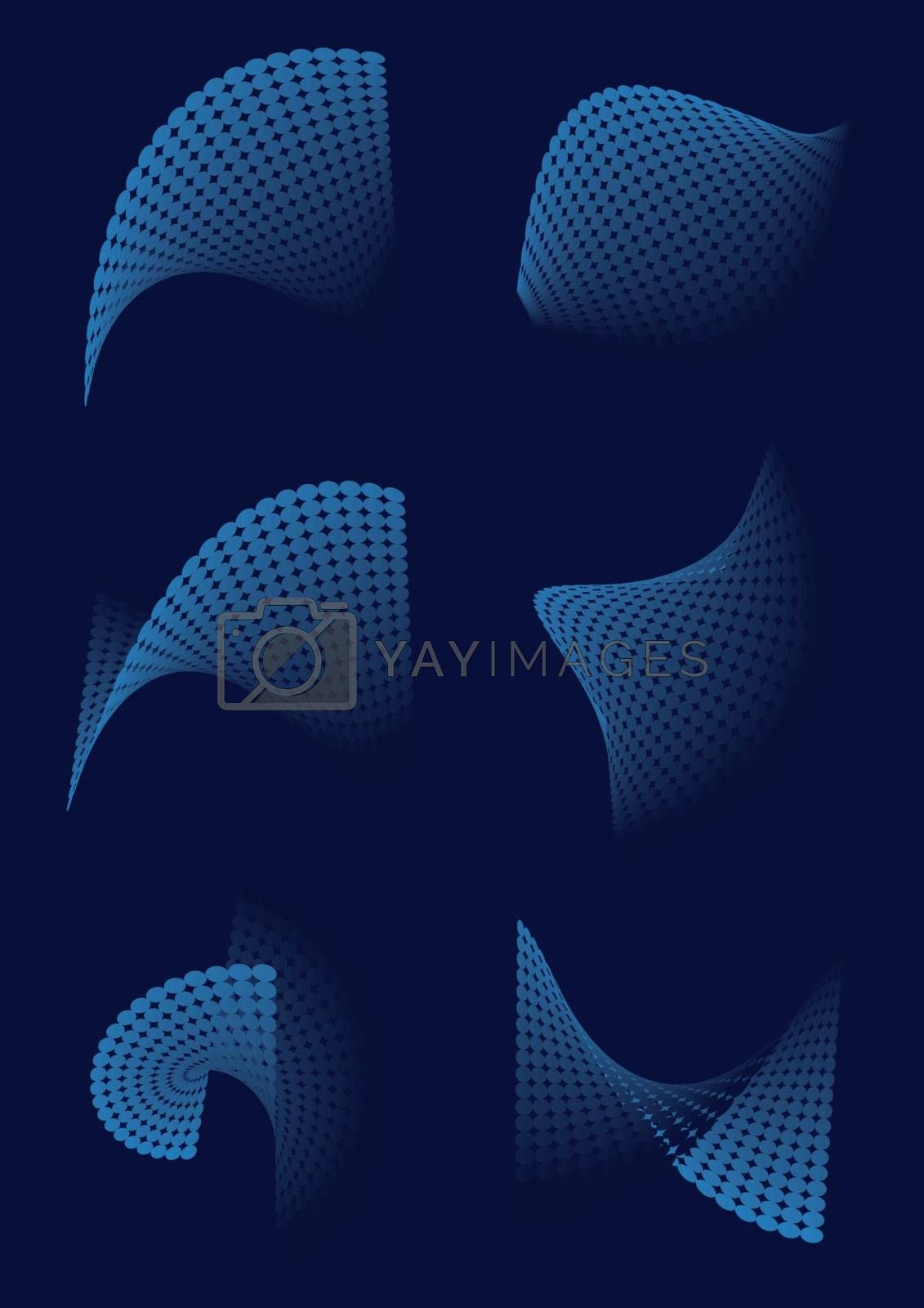 Abstract futuristic neon blue 3D shapes made of circle matrix. Geometric wavy twisted planes on a blue background. Vector illustration for cover, brochure, banner, leaflet, poster