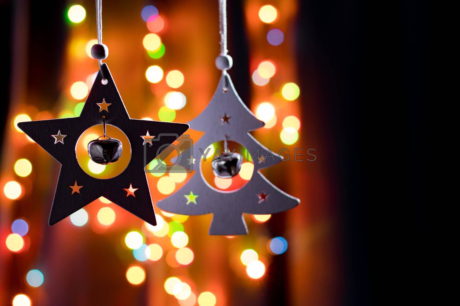 Handmade Christmas Decorations on Blurred Dark Background by clusterx