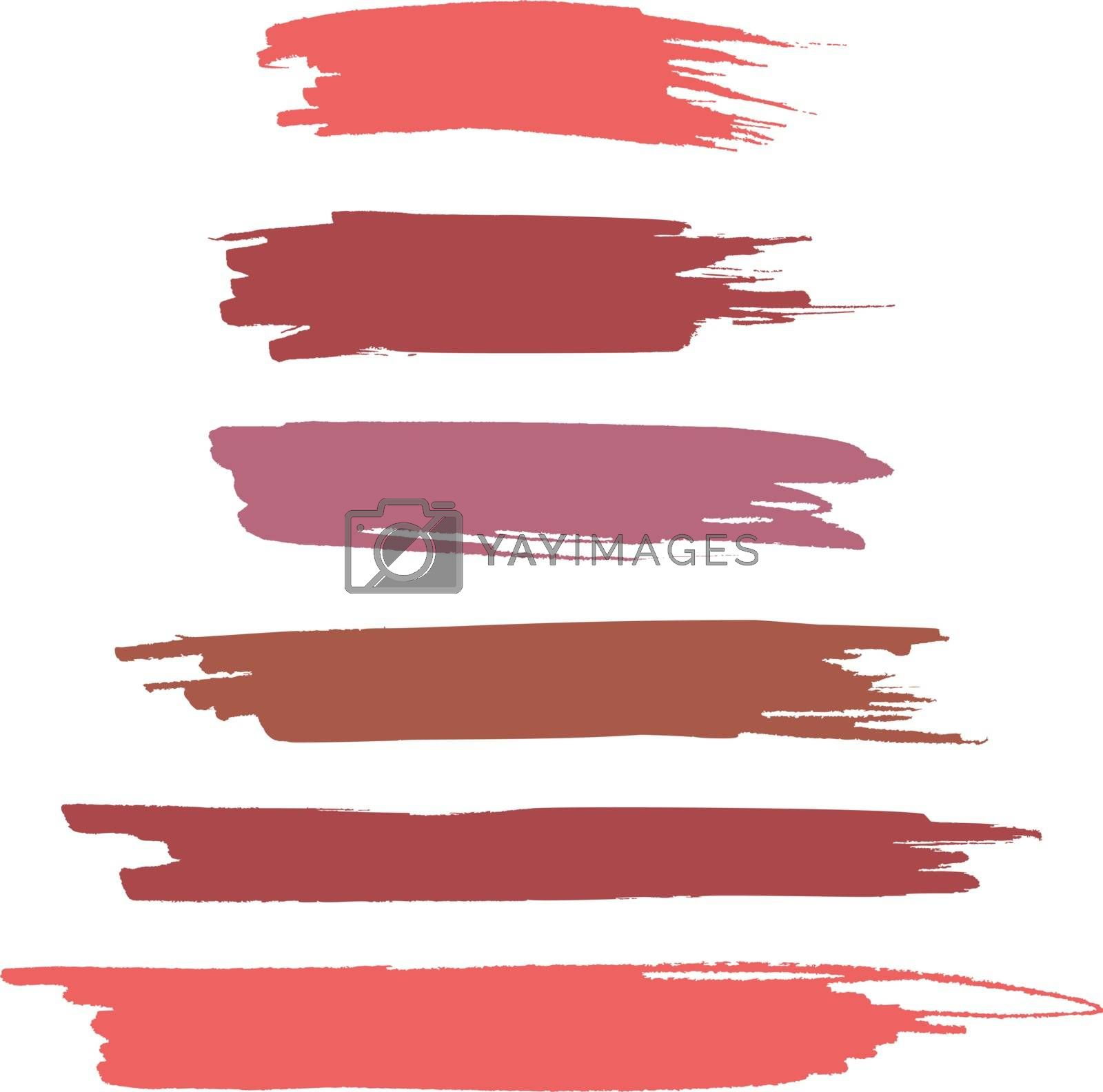 Set of vector realistic text highlighter marker or brush strokes in gentle tones for text accentuation