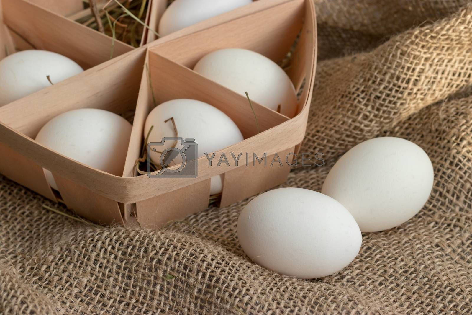 White eggs in the straw close-up in a rustic style by clusterx