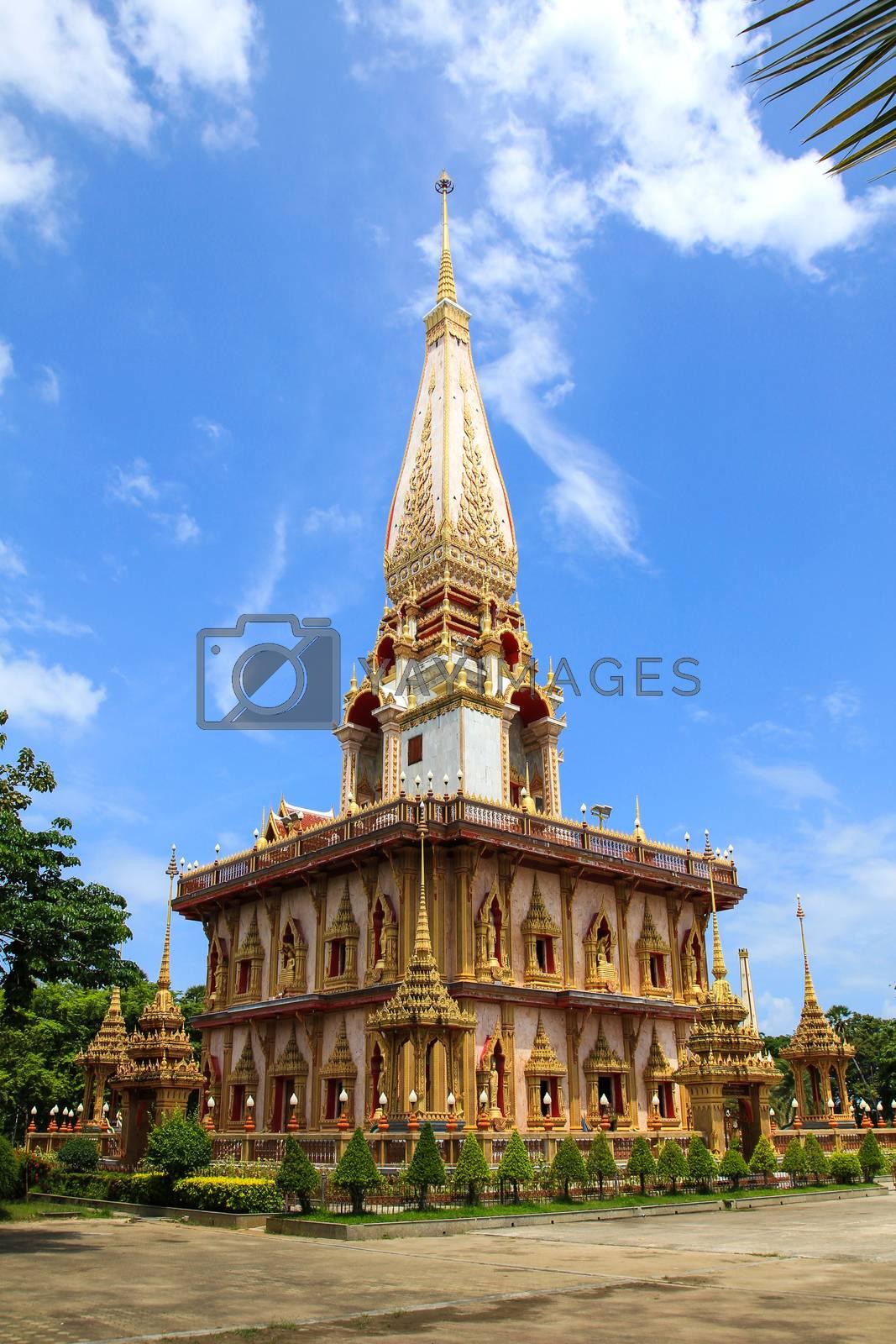 Pagoda at Wat Chalong Temple in Phuket, Thailand. by Nunnicha Supagrit